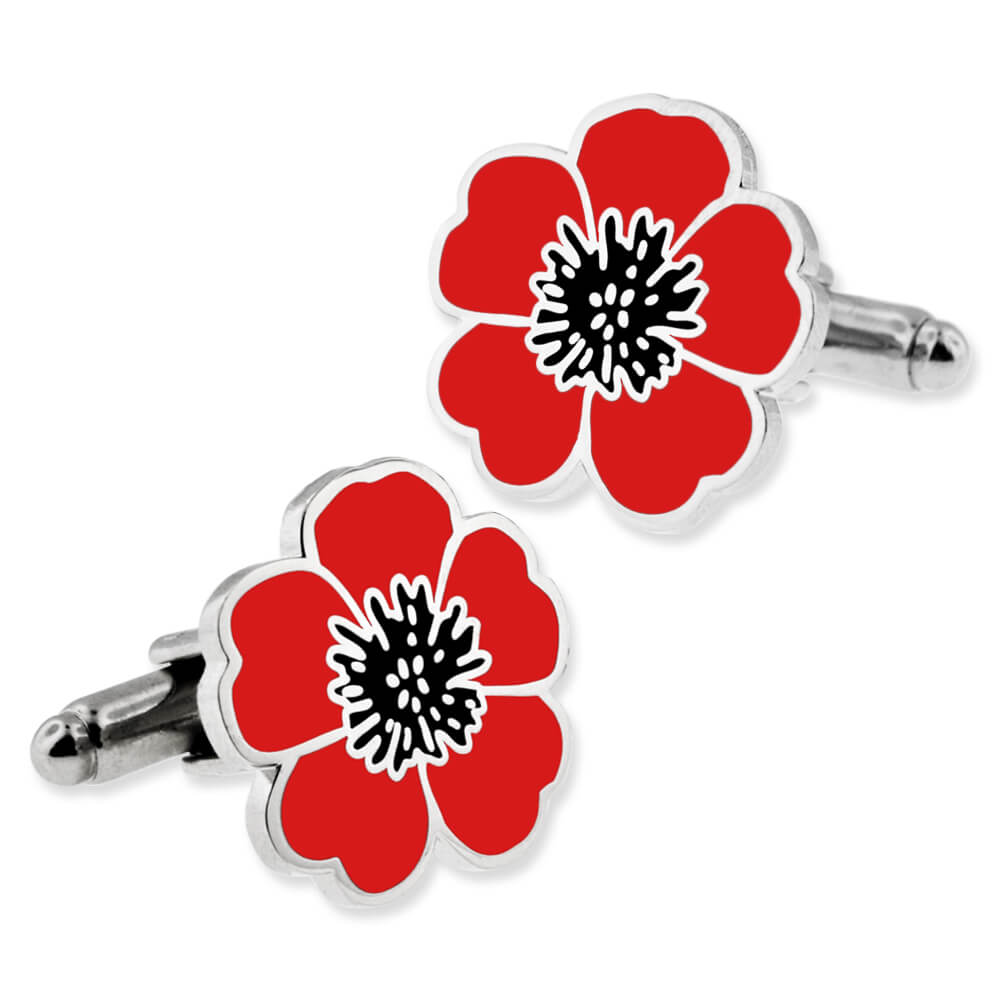 Pinmart S Red And Black Poppy Flower Remembrance Memorial Day