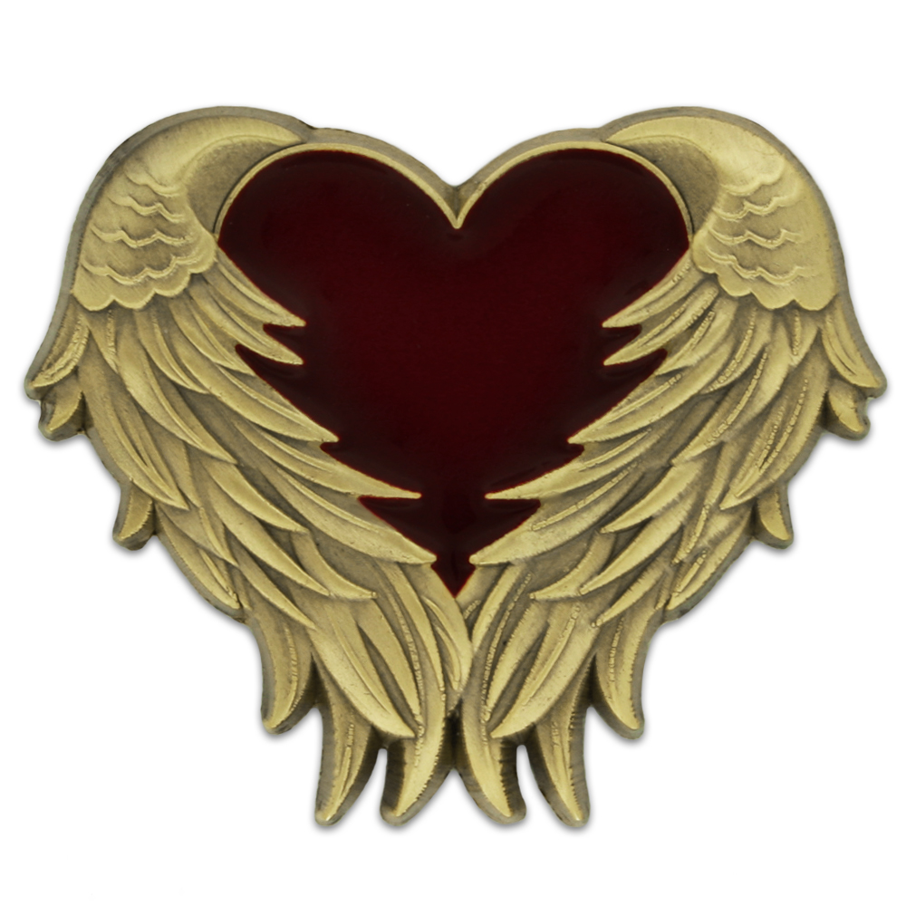 Details about PinMart's Antique Gold Heart with Angel Wings Enamel lapel Pin