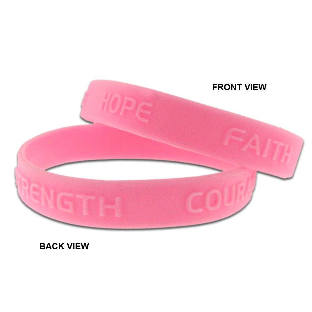 Pink breast cancer band bracelets