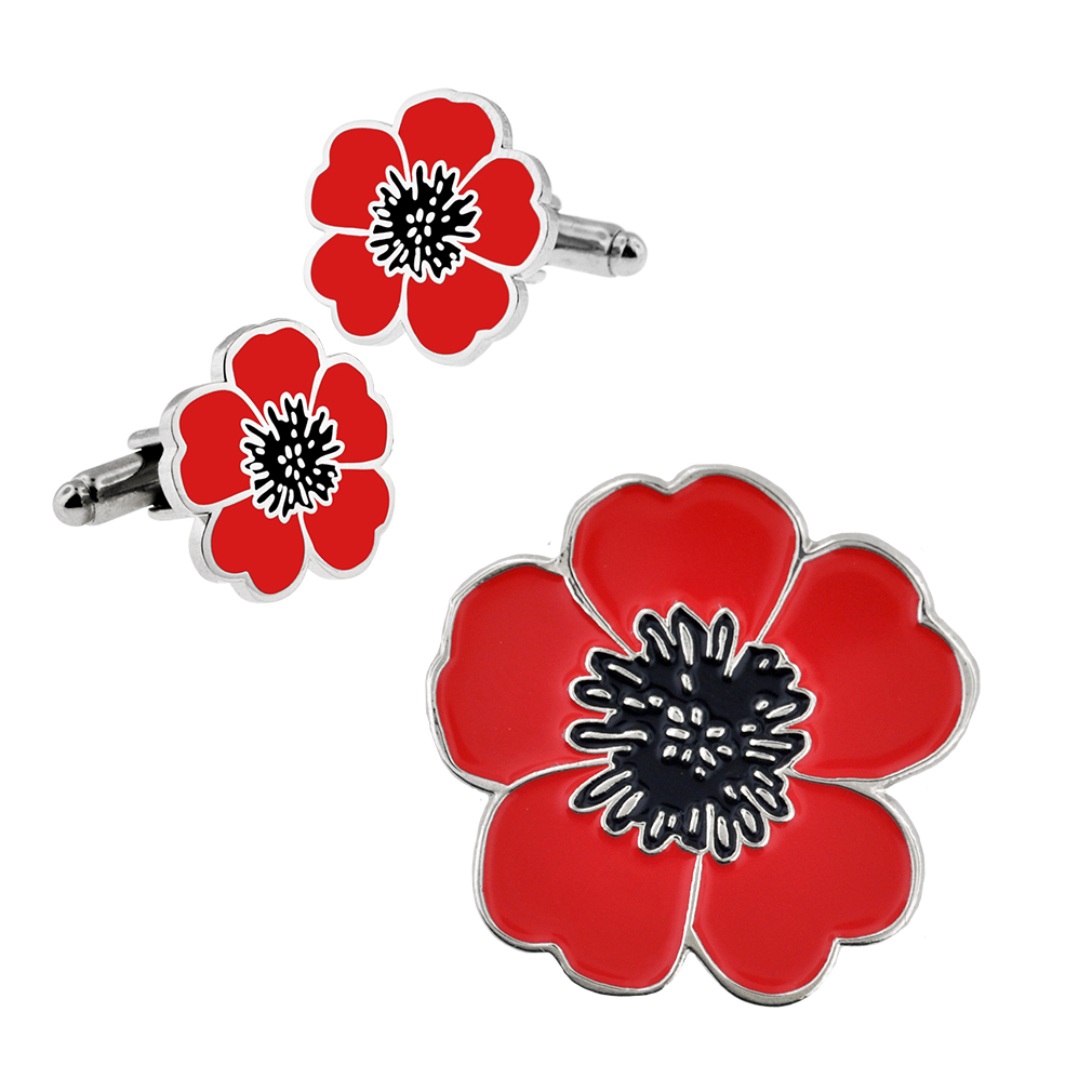 Pinmart S Memorial Day Red Poppy Flower Lapel Pin And Cufflinks 2