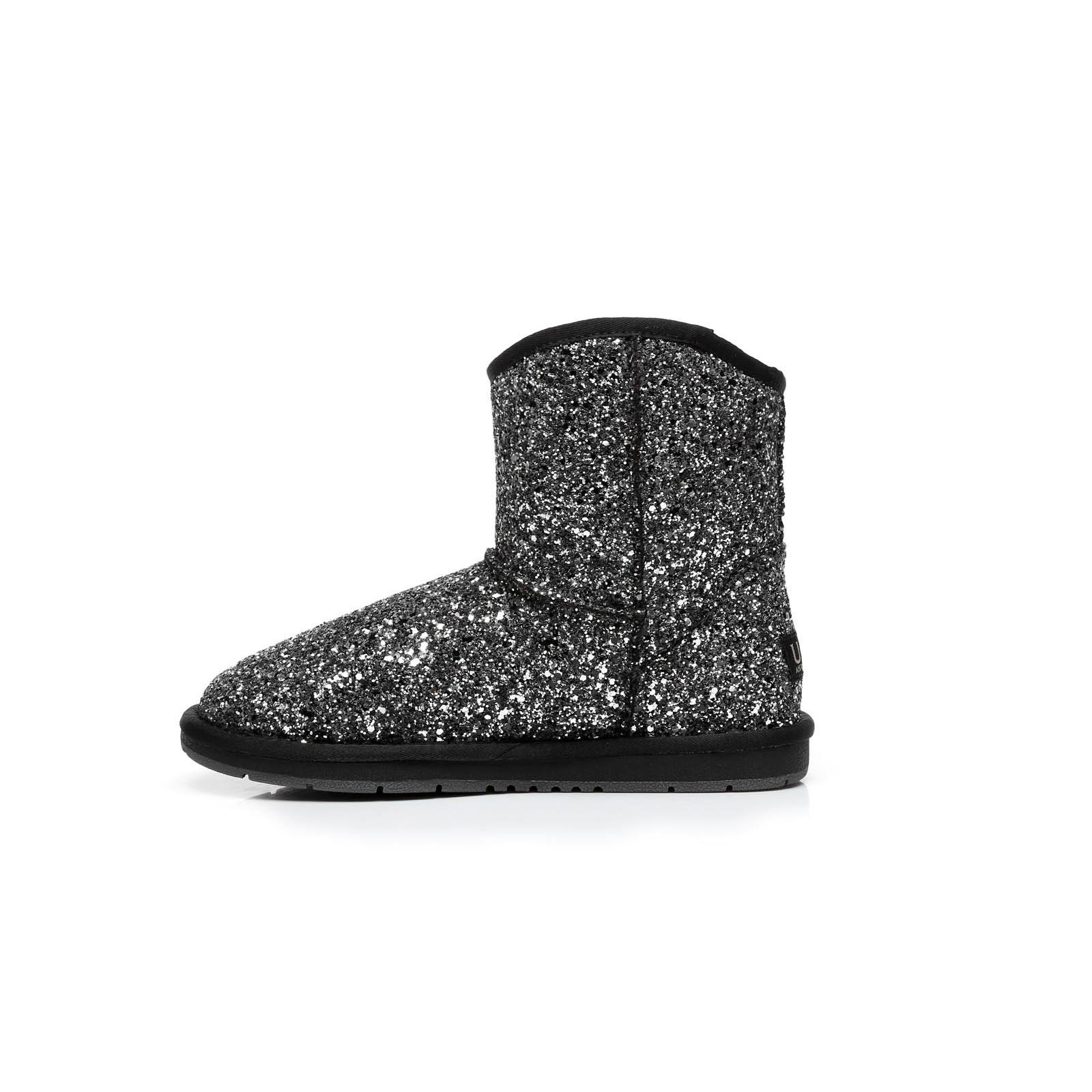 Ugg-Boots-Sheepskin-Short-Snowflake-Australian-Ladies-Black-