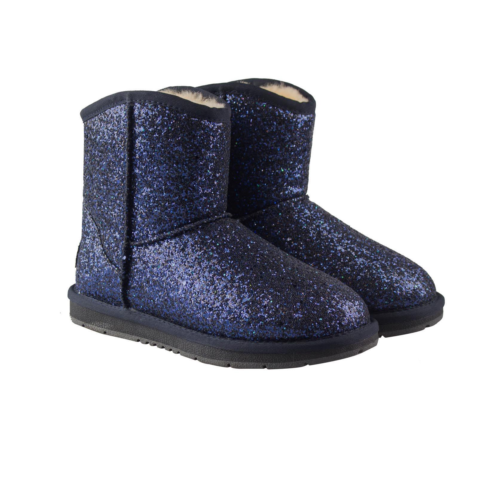Ugg-Boots-Sheepskin-Short-Snowflake-Australian-Ladies-Black-