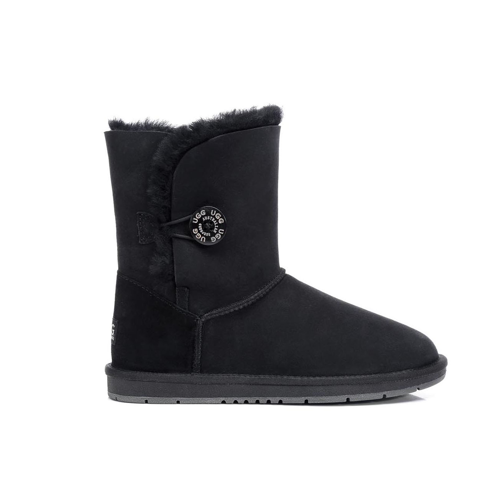 Ugg-Boots-Sheepskin-Classic-Short-Button-Australian-Ladies-Black-Size-35-41-EU