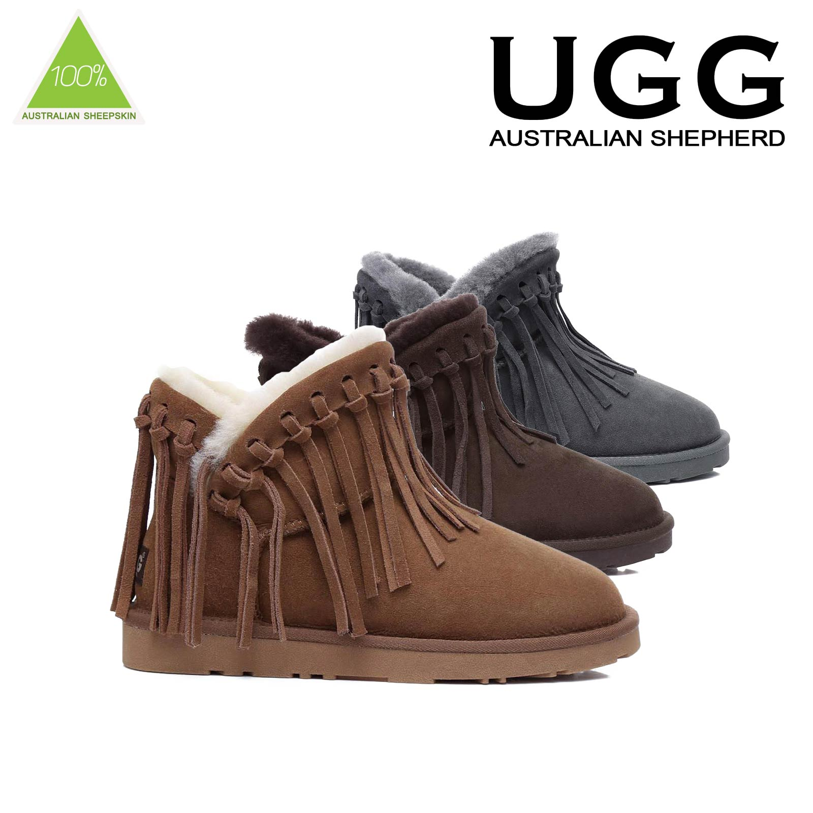 NEW-Ugg-Boots-100-Sheepskin-Short-Fringe-Ankle-