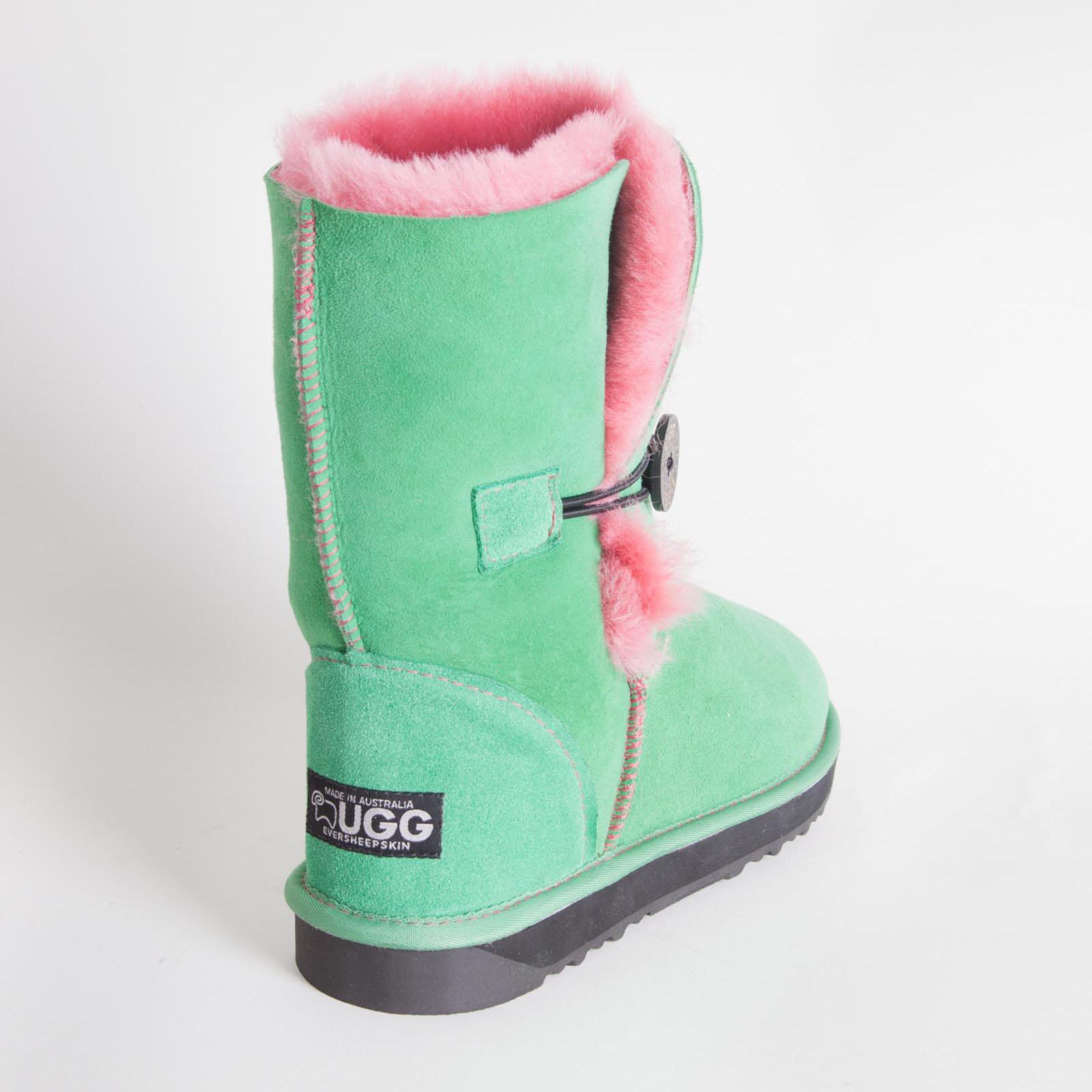 4a69114c01e7 Ugg Boots Sheepskin Ladies Short Button Outdoor Australian Green ...