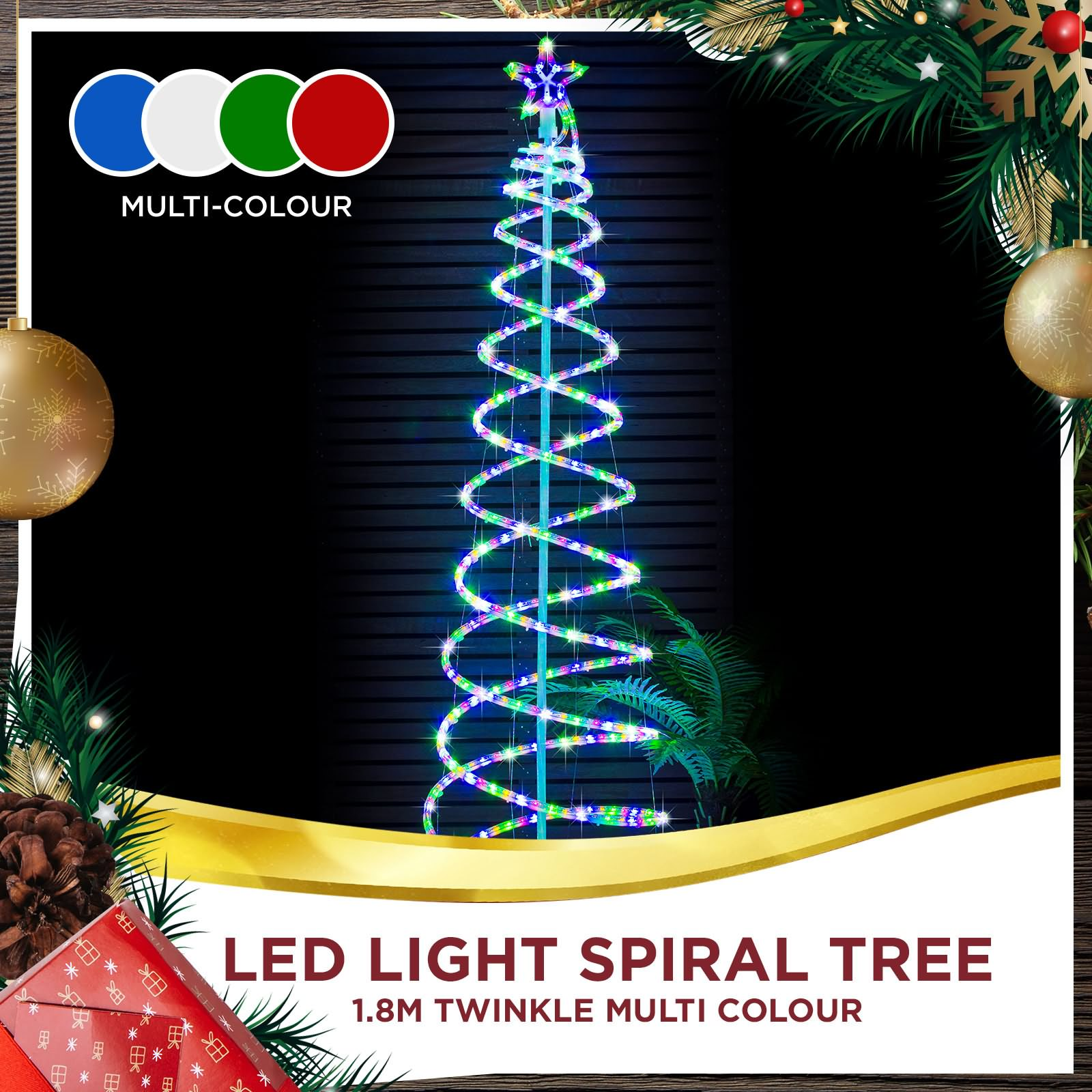 LED Christmas Lights Spiral Rope Light Tree 1.8m Twinkle ...