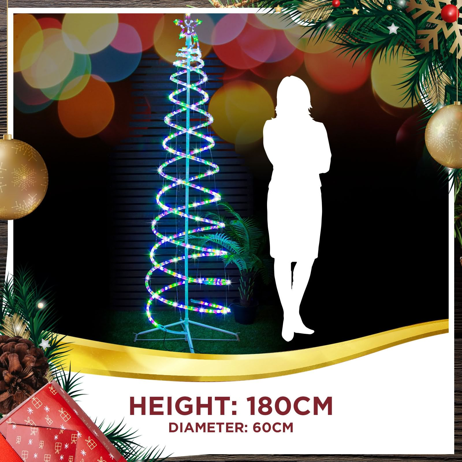 Led Christmas Lights Spiral Rope Xmas Tree 18m Twinkle Multi Colour Wire In Addition Wiring 1