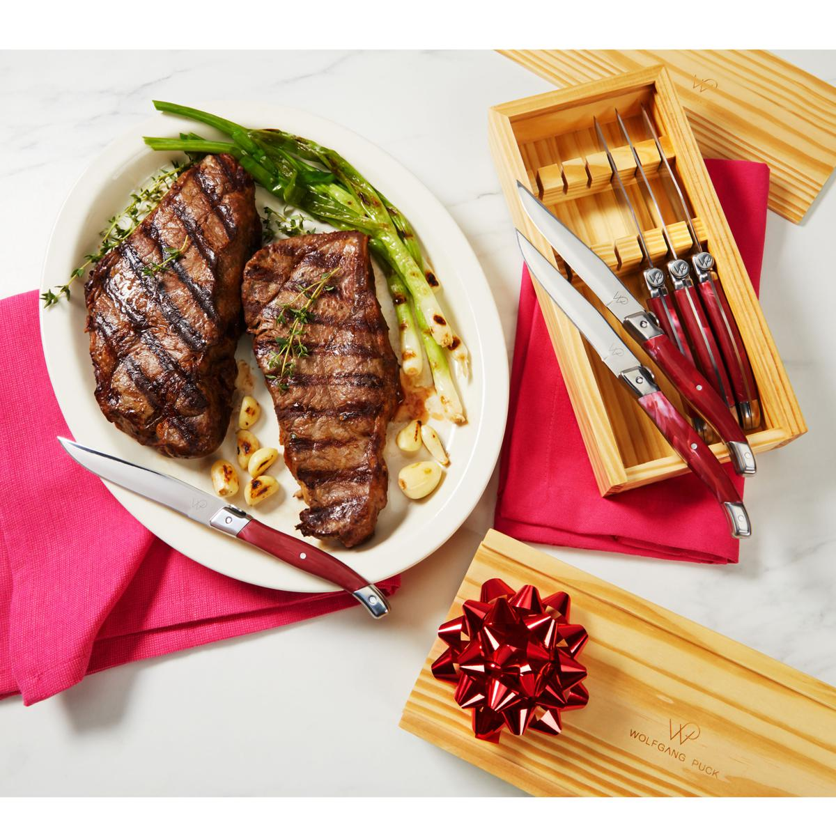 Wolfgang Puck 12pc Carbon Steel Steak Knife Set W Wood