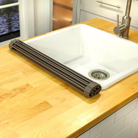 curtis stone roll up drying rack and trivet. Black Bedroom Furniture Sets. Home Design Ideas