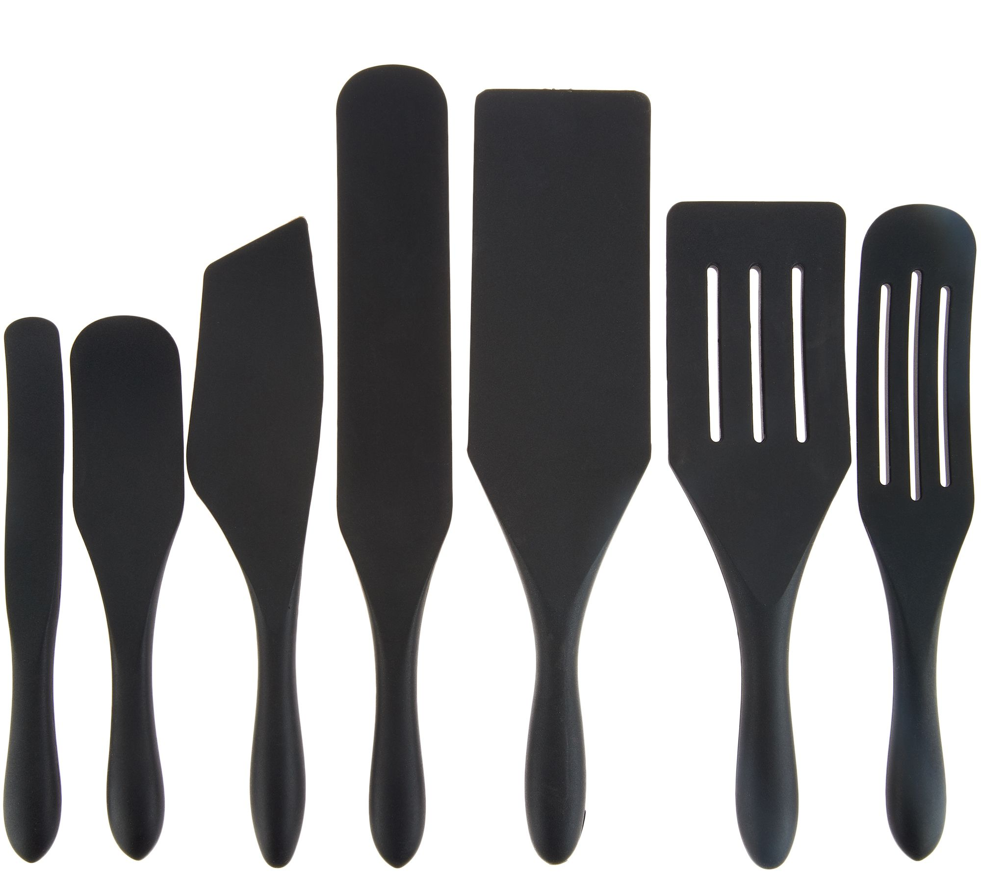 Mad Hungry 7-Piece Multi-Use Silicone Spurtle Set Spatula and Spoon Set  Black