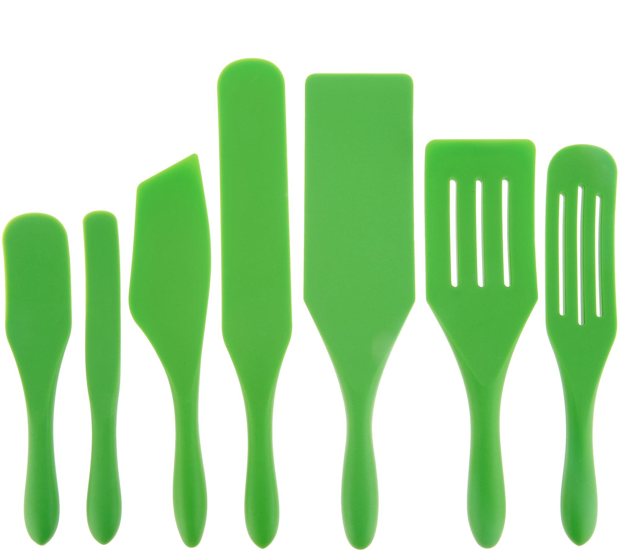 Mad Hungry 7-Piece Multi-Use Silicone Spurtle Set Spatula and Spoon Set  Green