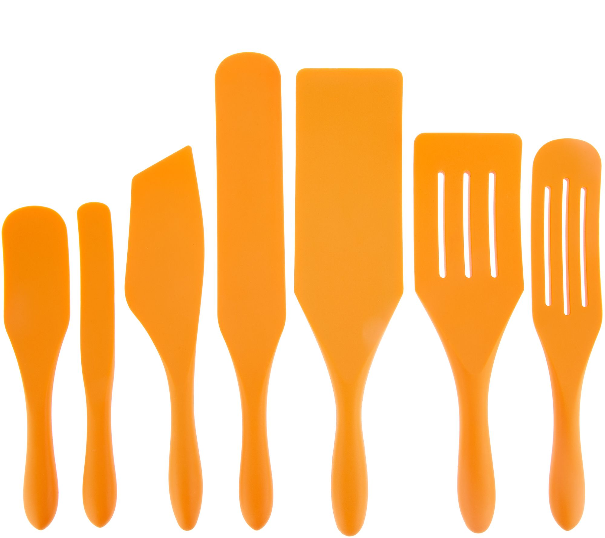 Mad Hungry 7-Piece Multi-Use Silicone Spurtle Set Spatula and Spoon Set  Orange