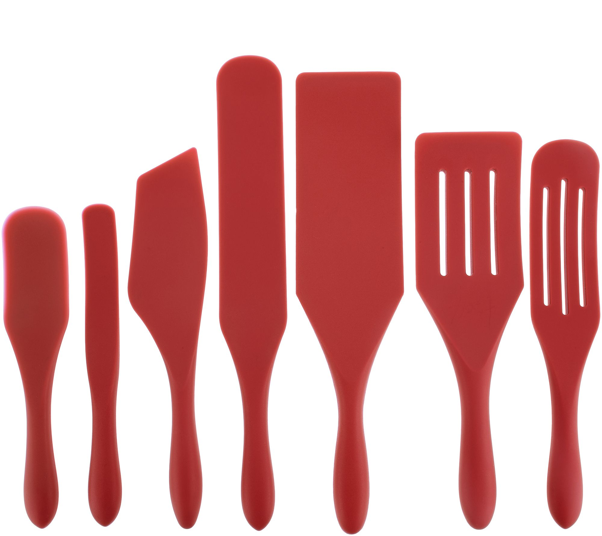 Mad Hungry 7-Piece Multi-Use Silicone Spurtle Set Spatula and Spoon Set  Red