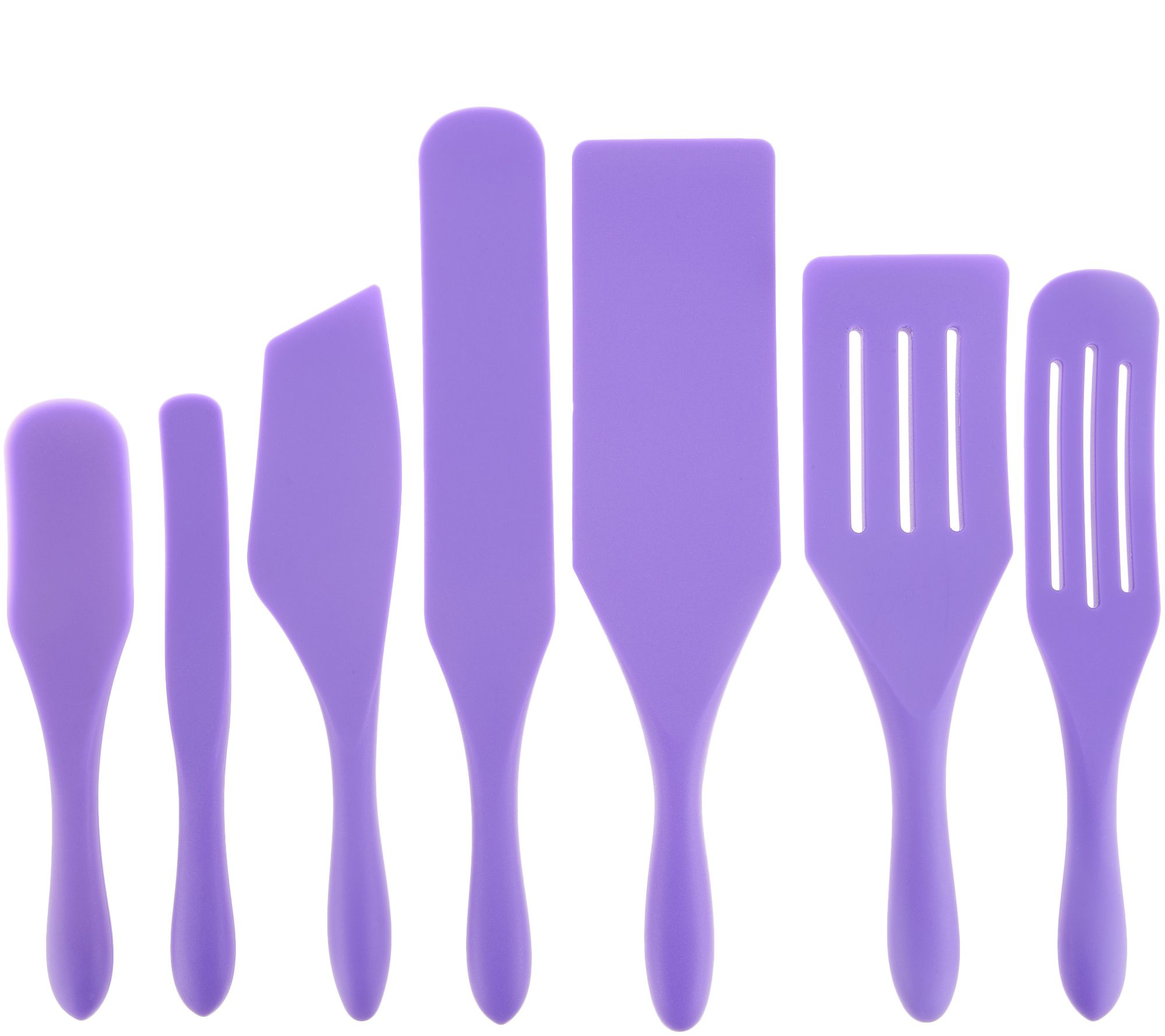 Mad Hungry 7-Piece Multi-Use Silicone Spurtle Set Spatula and Spoon Set  Violet