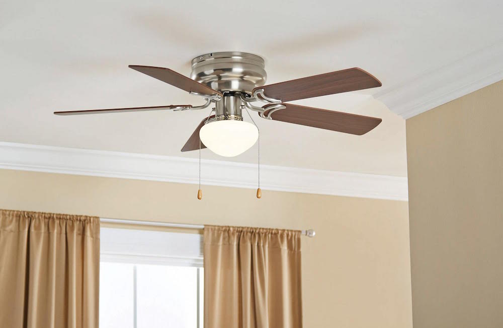 Mainstays Ceiling Fan 42 Hugger With Globe Light Satin Nickel Finish 10251