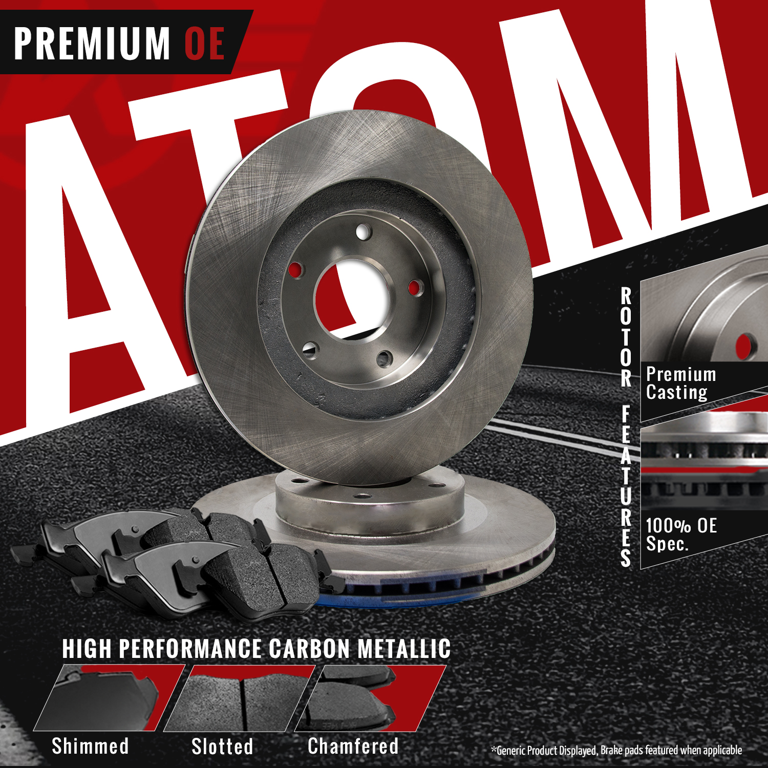 Front-Rear-Rotors-w-Metallic-Pad-OE-Brakes-07-09-Fit-Dodge-Sprinter-2500 thumbnail 2