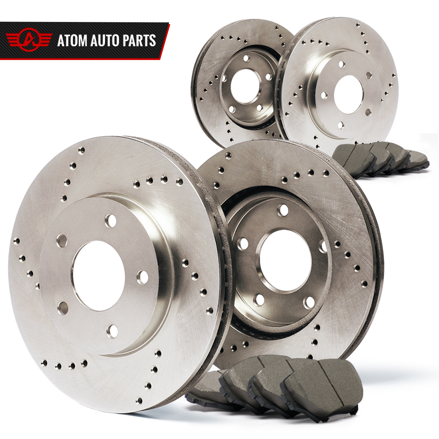 (Front + Rear) Rotors w/Ceramic Pads Drilled Brakes (2011 - 2015 S60 S80 XC70)