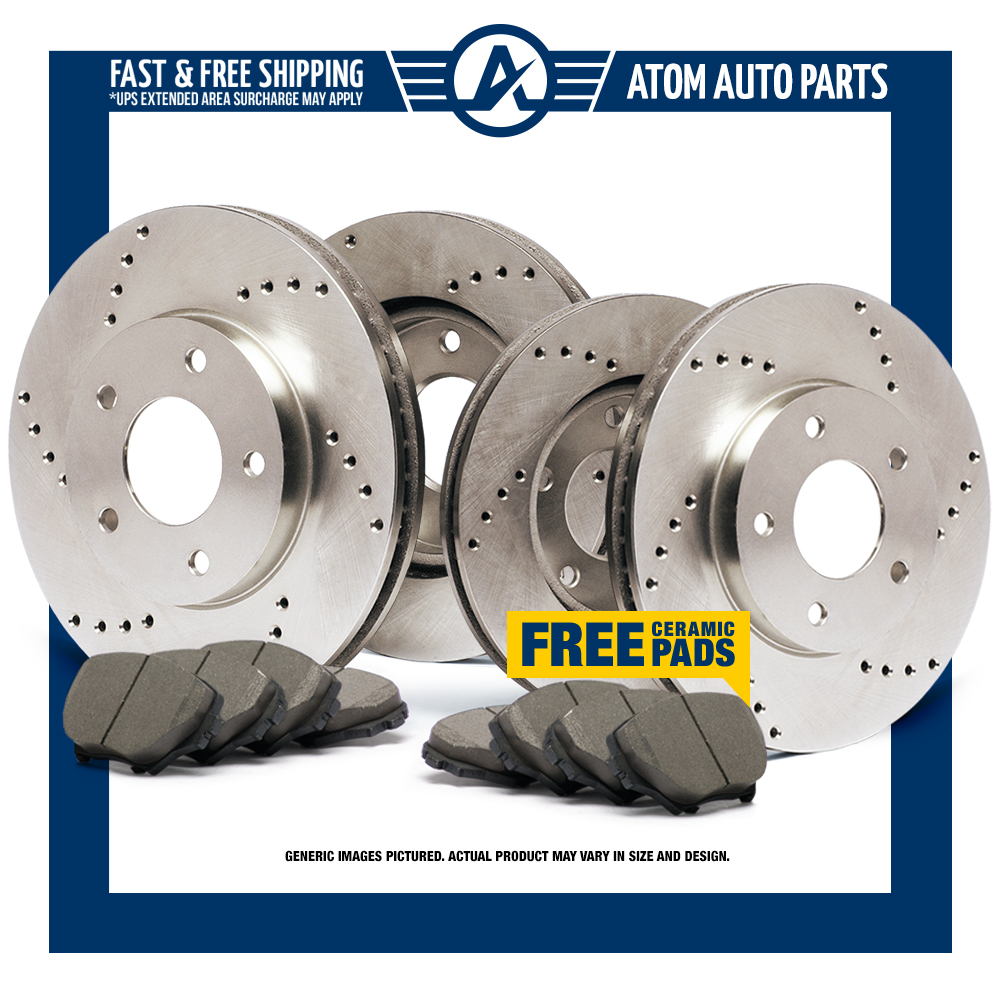 Front-Rear-Rotors-w-Ceramic-Pads-Drilled-Brakes-2011-2015-S60-S80-XC70