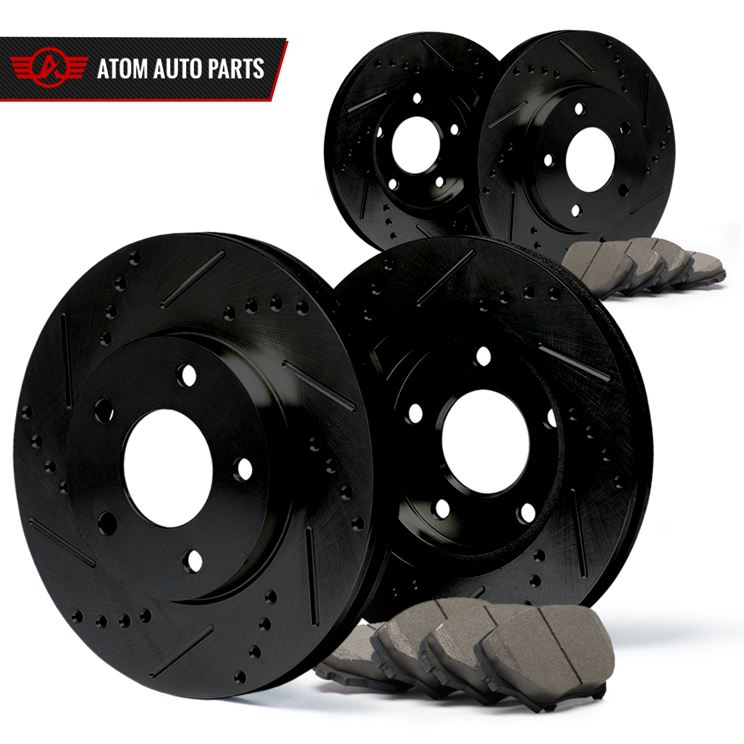 2013 2014 2015 2016 2017 Ram 1500 (Black) Slot Drill Rotor Ceramic Pads F+R