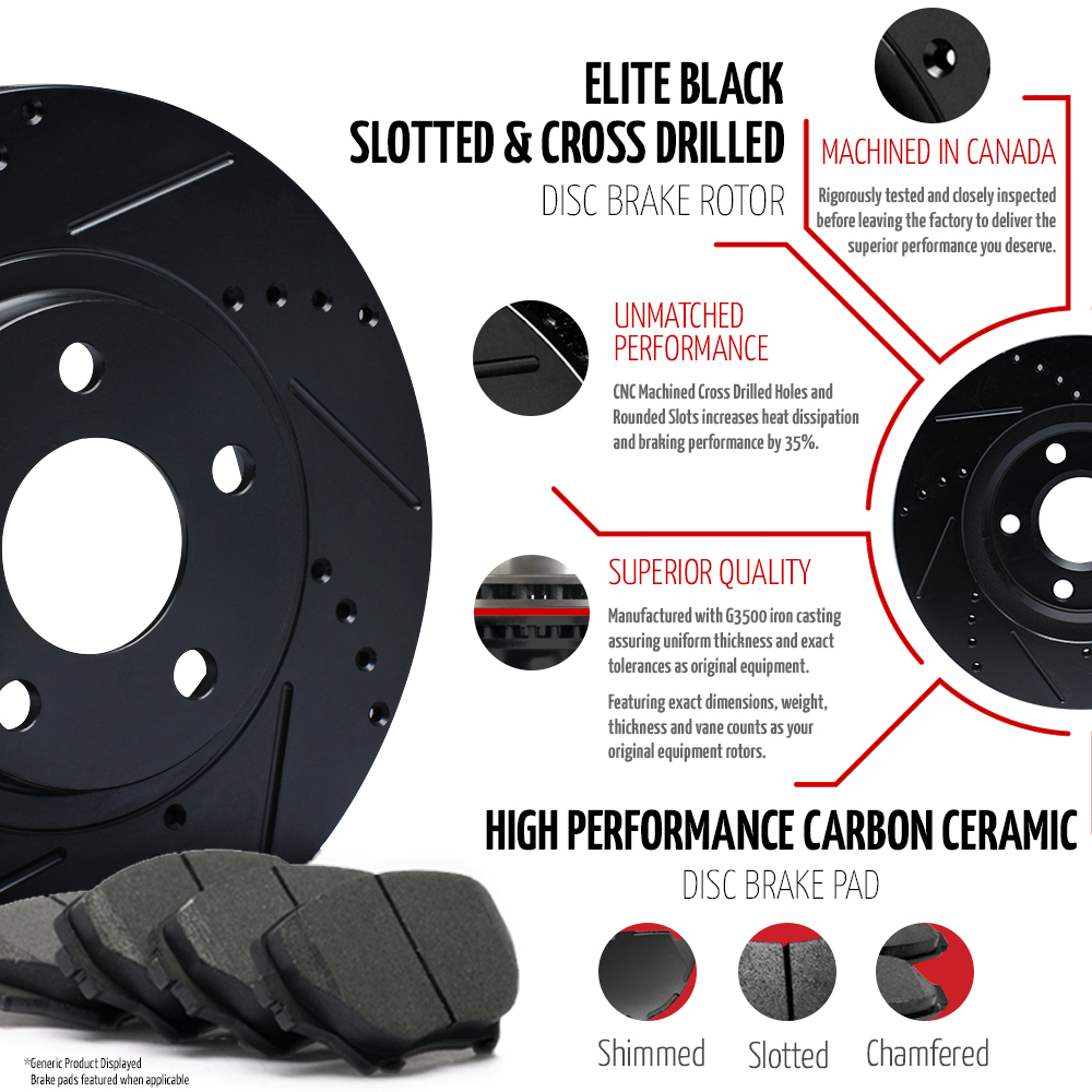 2008-2009-2010-Dodge-Grand-Caravan-Black-Slot-Drill-Rotor-Ceramic-Pads-F-R