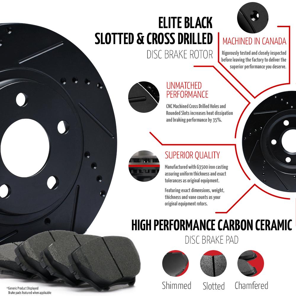 2013-2014-2015-2016-2017-Ram-1500-Black-Slot-Drill-Rotor-Ceramic-Pads-F-R