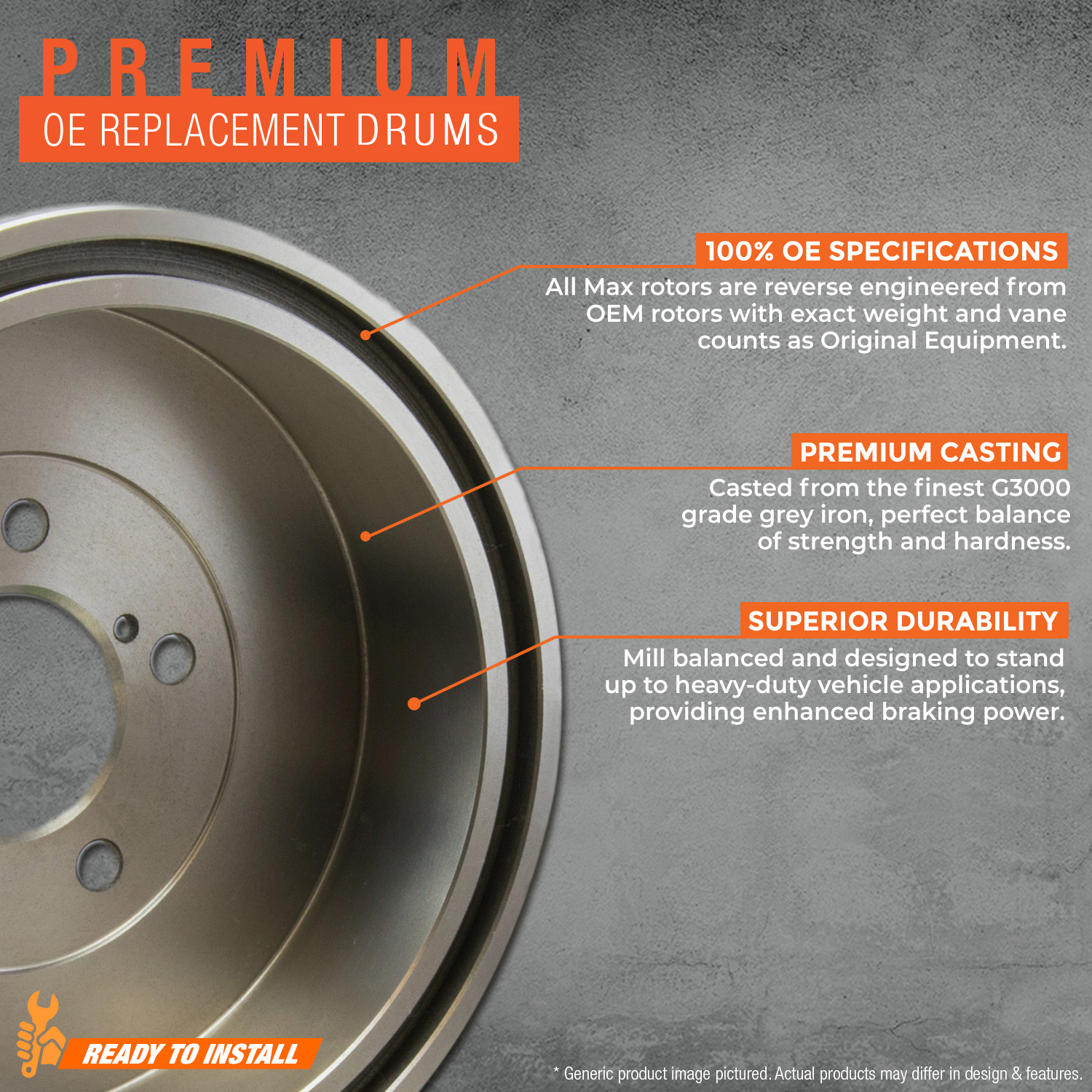 REAR-KIT-Premium-OE-Replacement-Brake-Drums-AND-Shoes thumbnail 3