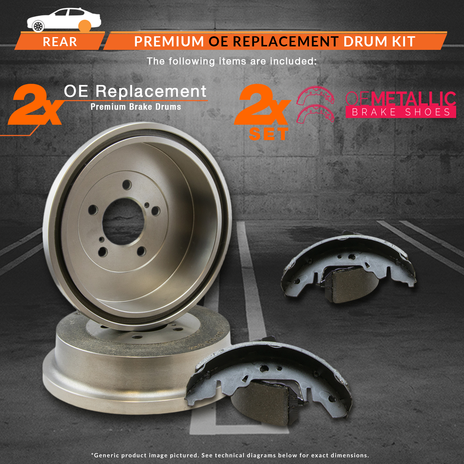 REAR-KIT-Premium-OE-Replacement-Brake-Drums-AND-Shoes thumbnail 2