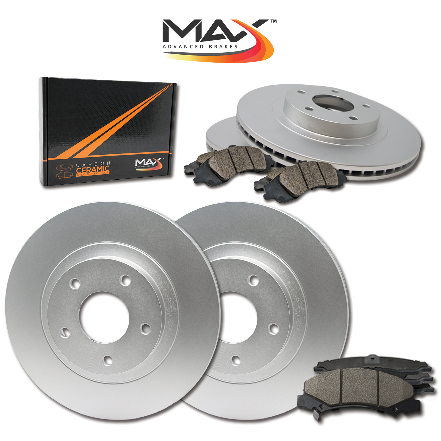 Front-Rear-Rotors-w-Ceramic-Pads-Geomet-OE-Brakes-Fits-2005-2009 thumbnail 1