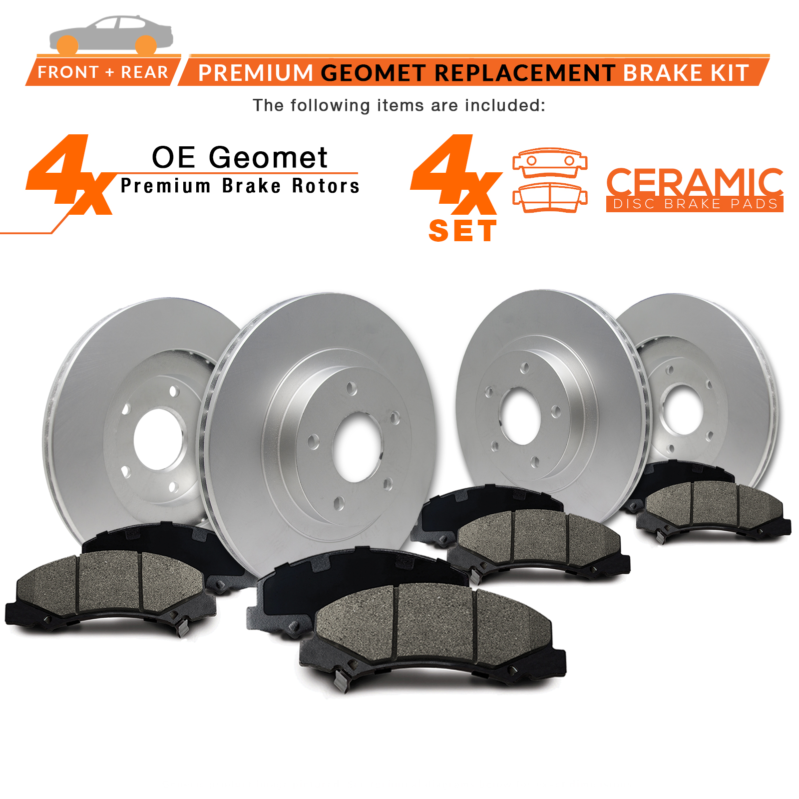 Front-Rear-Rotors-w-Ceramic-Pads-Geomet-OE-Brakes-Fits-2005-2009 thumbnail 2