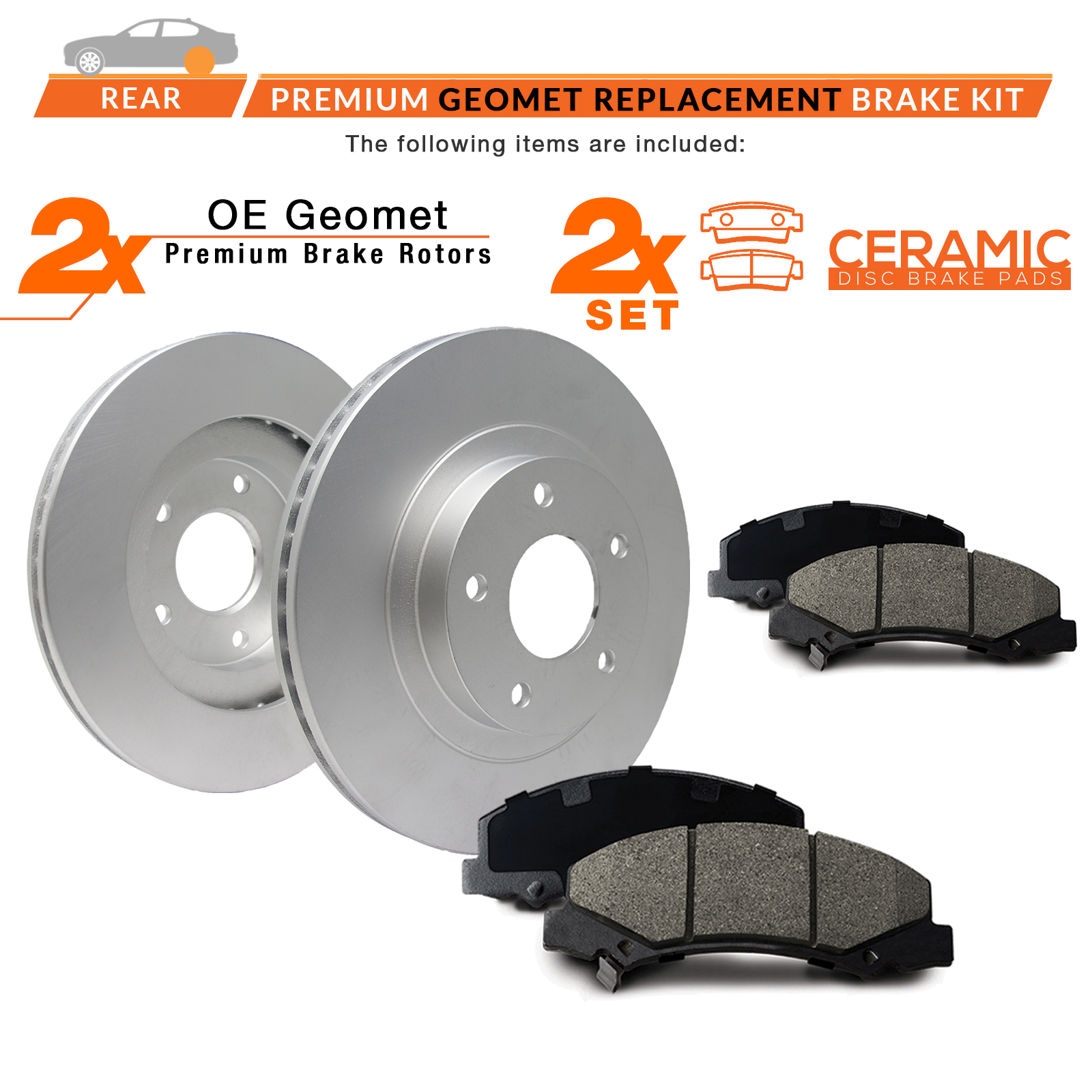 2008 2009 2010 Ford Econoline E250 OE Replacement Rotors w//Ceramic Pads F+R