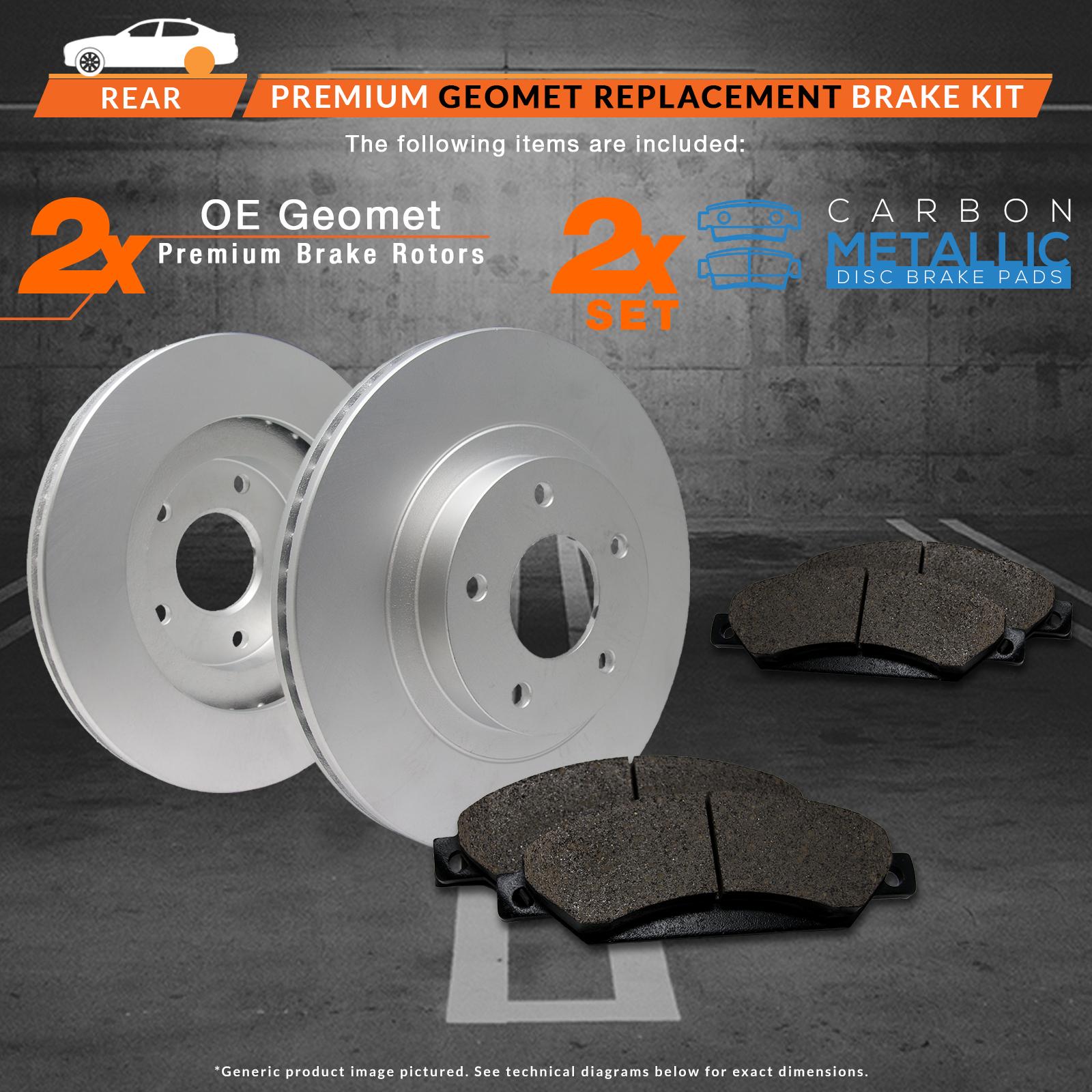 Rear-Rotors-w-Metallic-Pads-Geomet-OE-Brakes-2003-2004-2005-Vibe-Celica-Matrix thumbnail 2