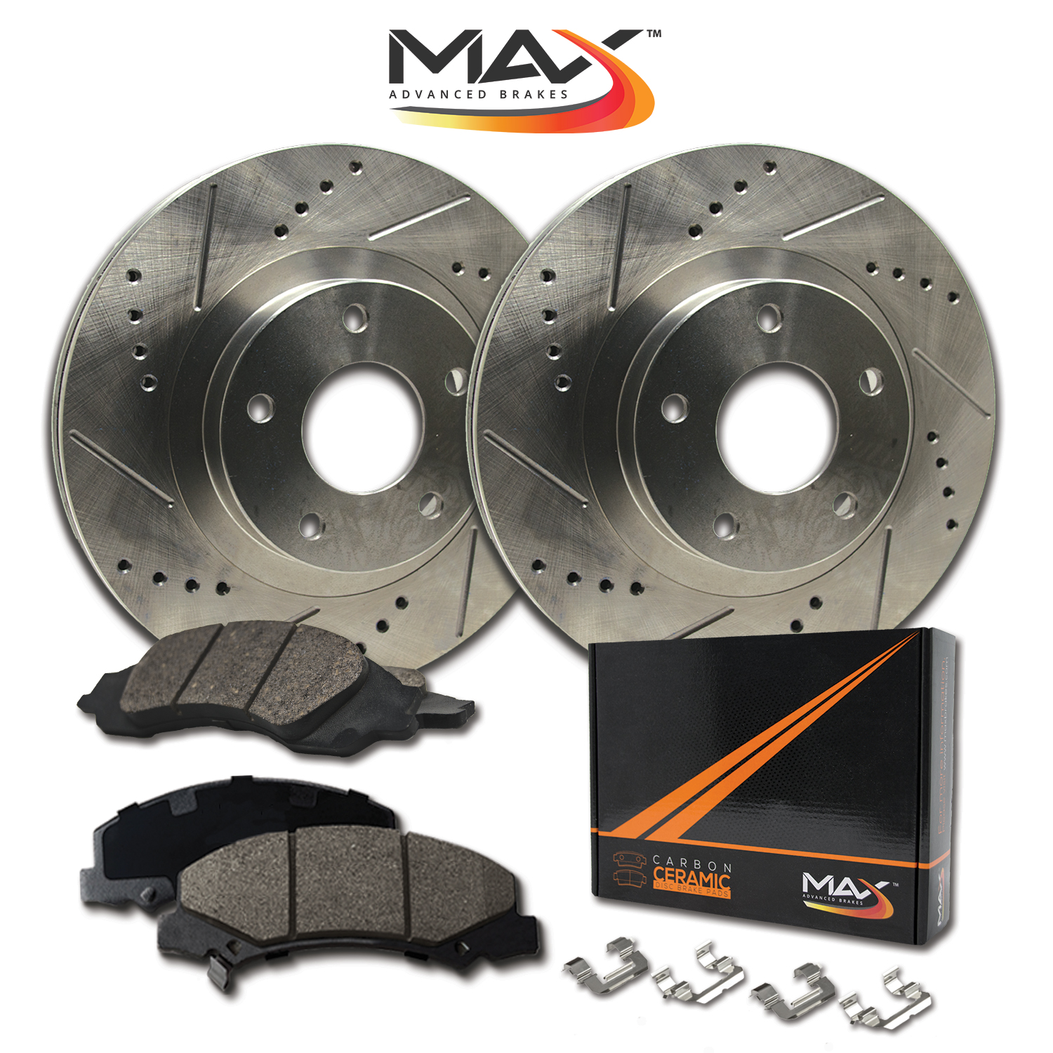 [REAR KIT] Slotted & Cross Drilled Rotors with Ceramic Pads & Hardware Kit