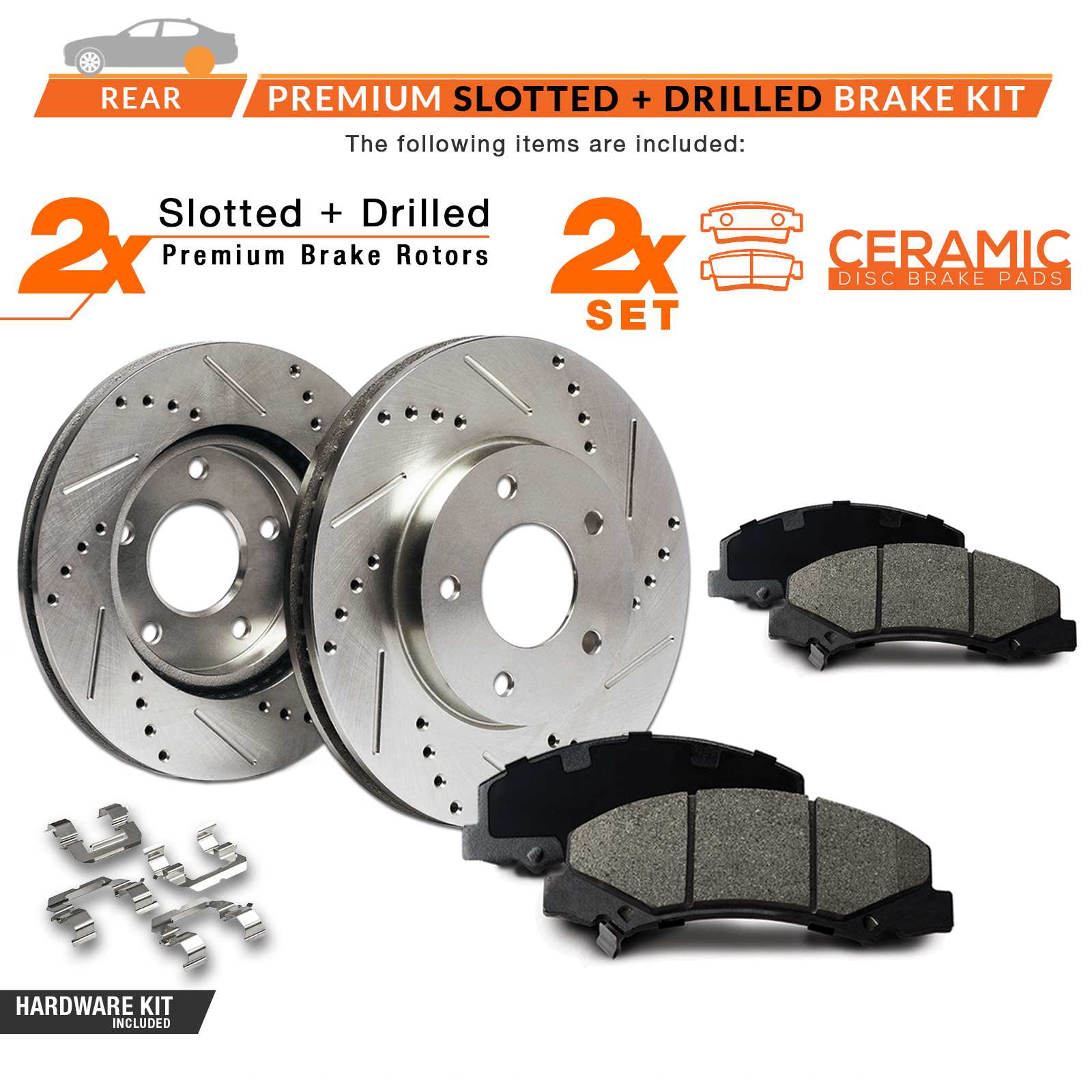 REAR-KIT-Slotted-amp-Cross-Drilled-Rotors-with-Ceramic-Pads-amp-Hardware-Kit thumbnail 2