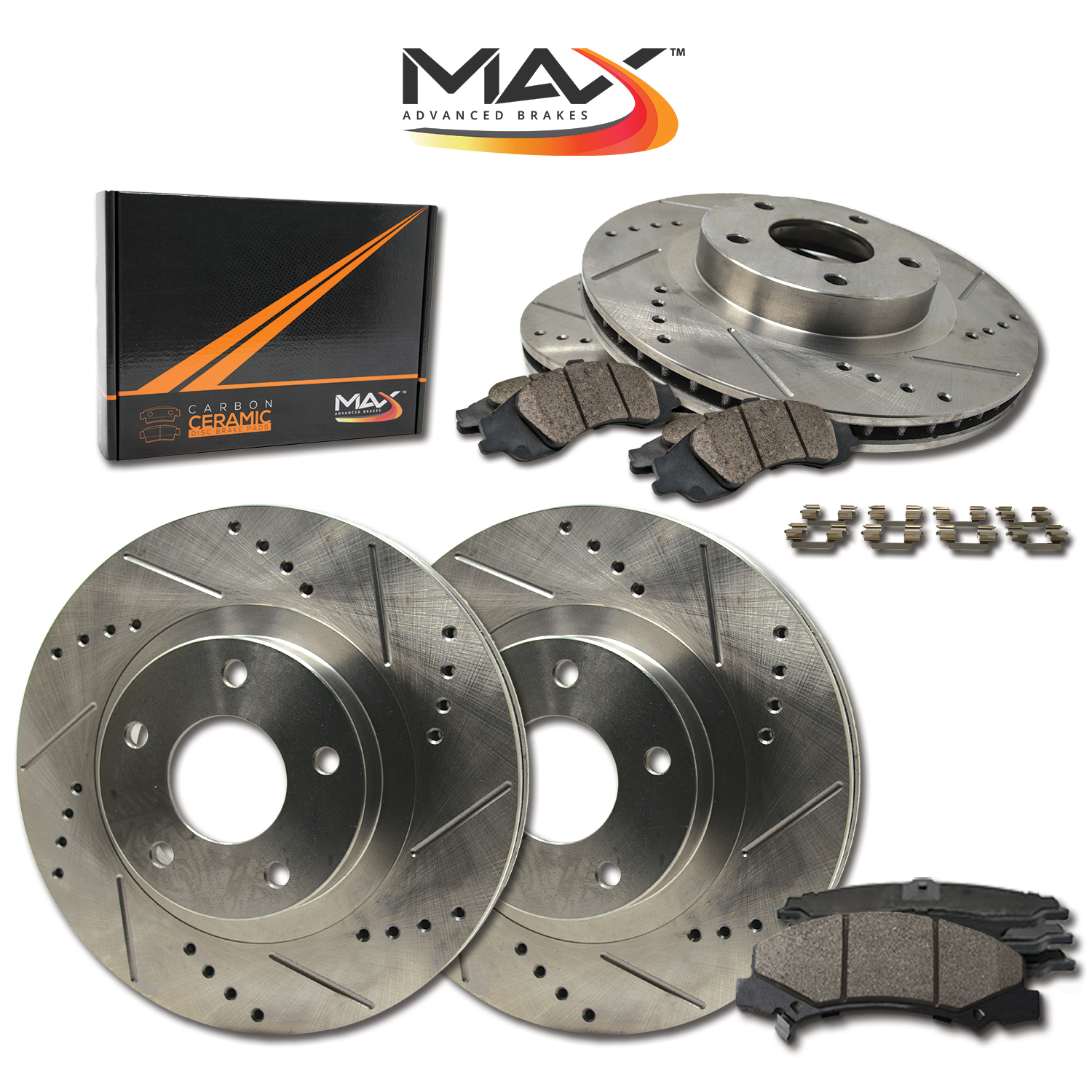 FRONT-REAR-Slotted-amp-Cross-Drilled-Rotors-with-Ceramic-Pads-amp-Hardware-Kit
