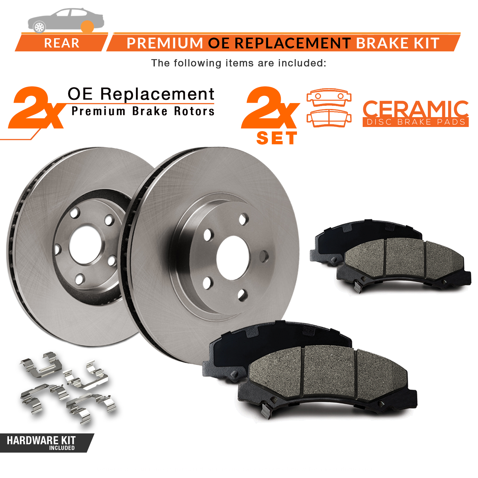 REAR-KIT-OE-Replacement-Brake-Rotors-with-Ceramic-Pads-amp-Hardware-Kit thumbnail 2