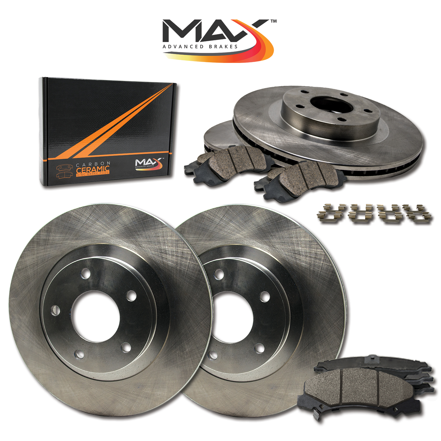 FRONT-REAR-OE-Replacement-Brake-Rotors-with-Ceramic-Pads-amp-Hardware-Kit