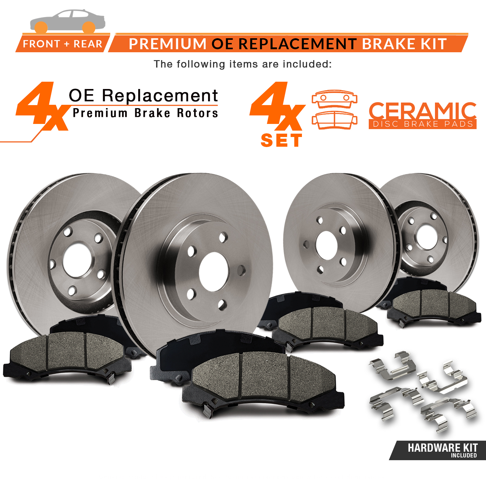 FRONT-REAR-OE-Replacement-Brake-Rotors-with-Ceramic-Pads-amp-Hardware-Kit thumbnail 2