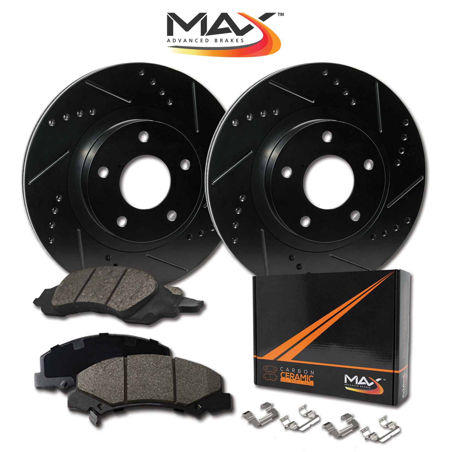FRONT-ELITE-BLACK-Slotted-amp-Drilled-Rotors-with-Ceramic-Pads-amp-Hardware-Kit