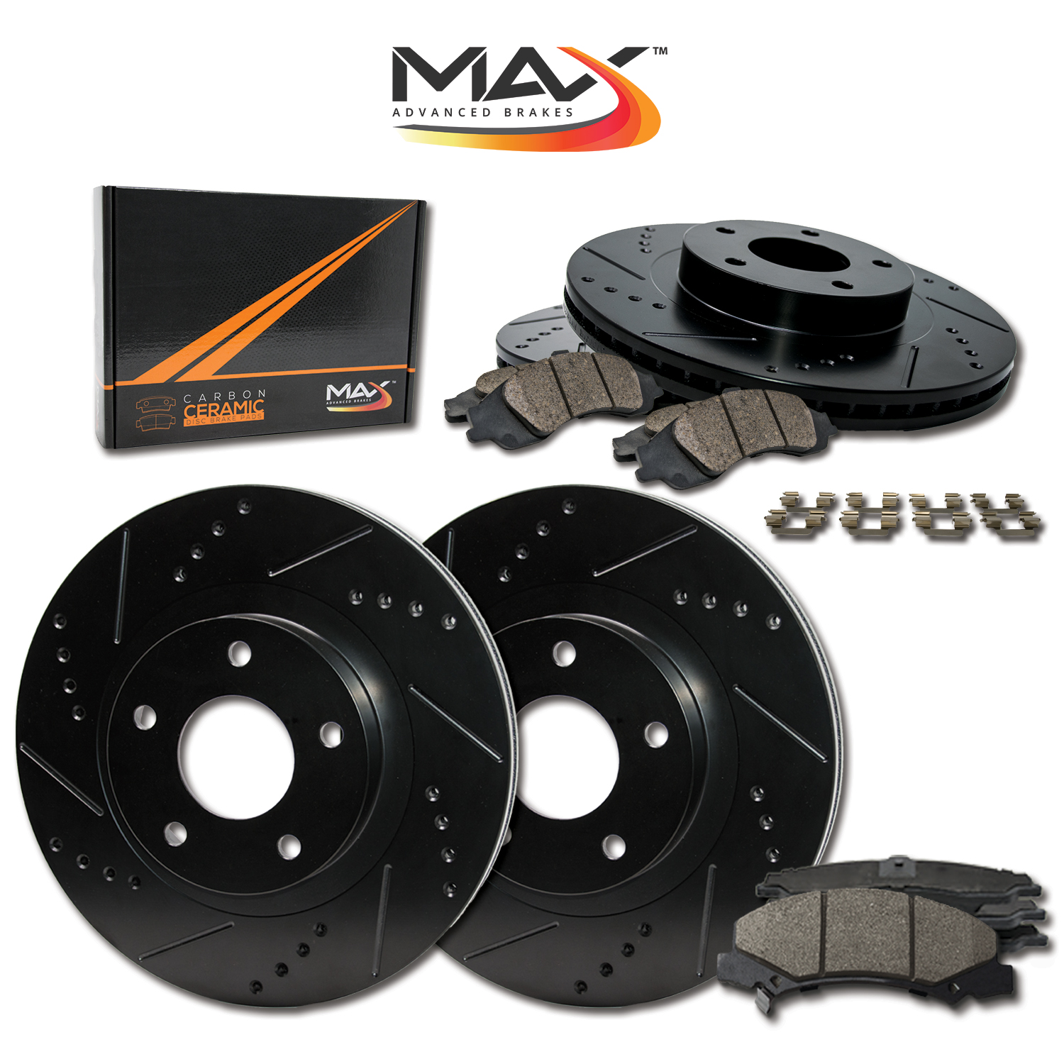 FRONT-REAR-BLACK-Slotted-Drilled-Rotors-with-Ceramic-Pads-amp-Hardware-Kit thumbnail 1