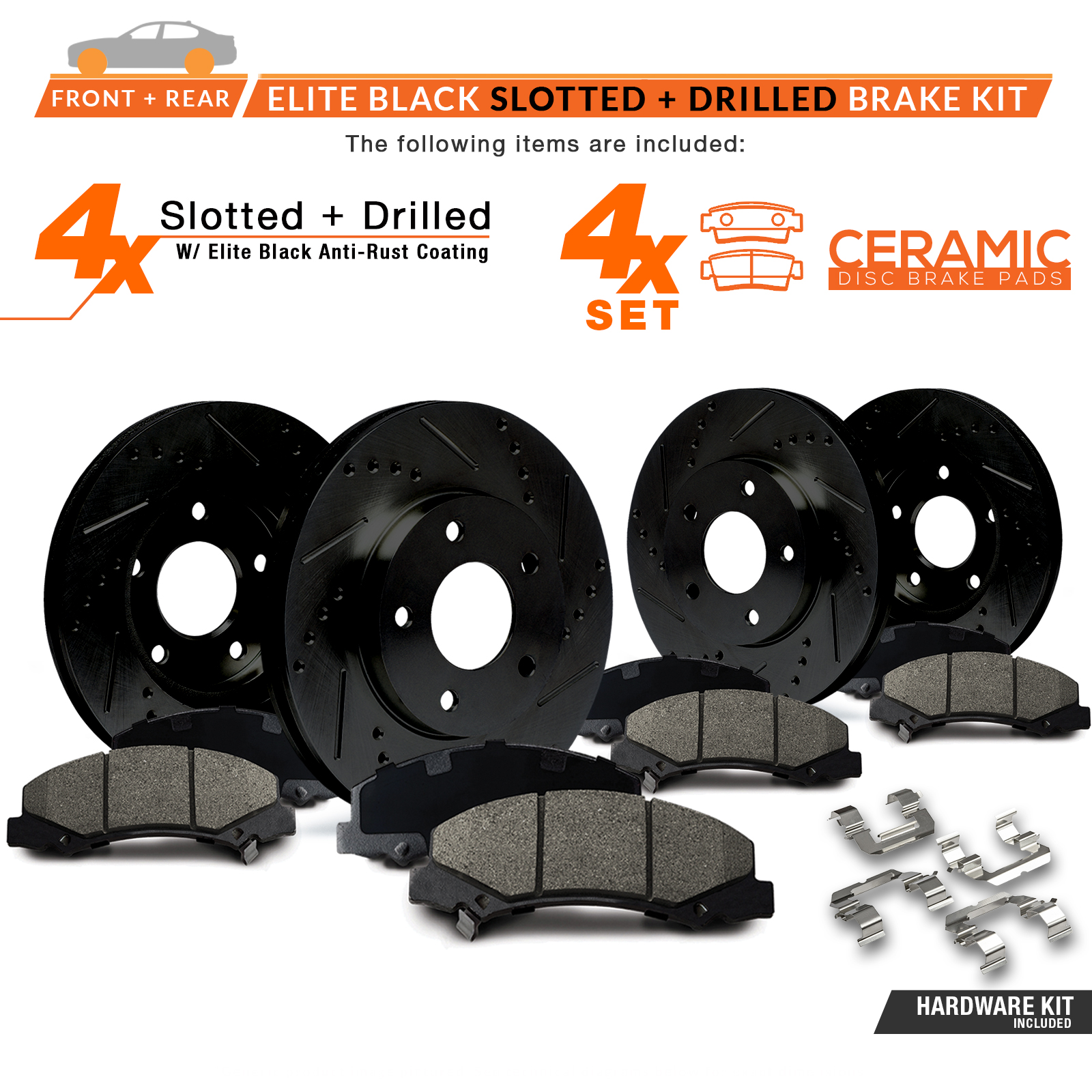 FRONT-REAR-BLACK-Slotted-Drilled-Rotors-with-Ceramic-Pads-amp-Hardware-Kit thumbnail 2