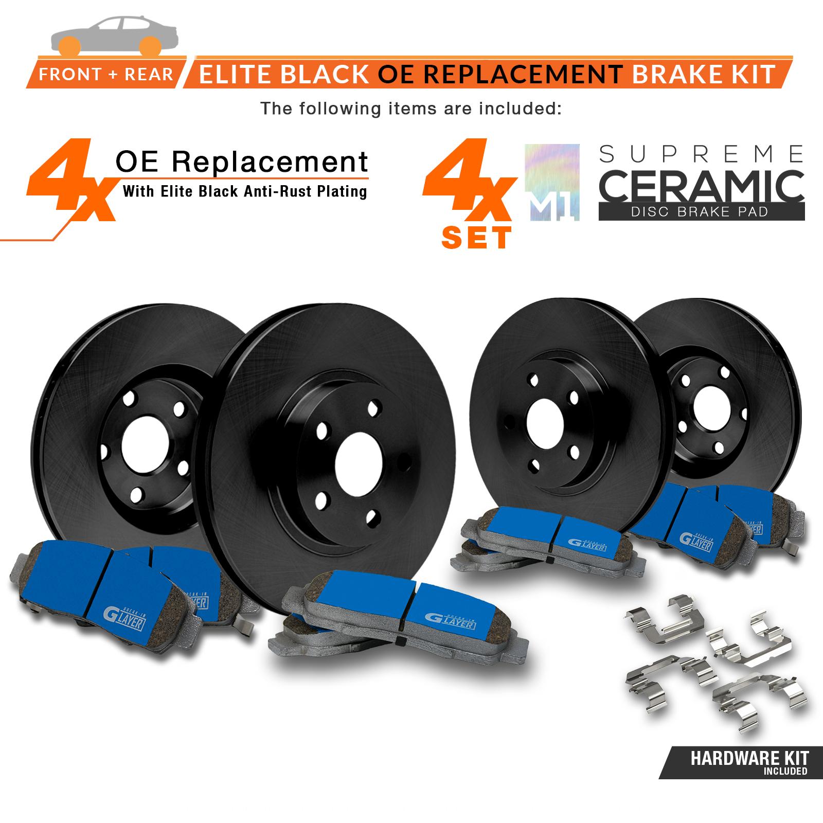 2005-2006-2007-2008-Fits-Nissan-Maxima-Black-OE-Rotors-M1-Ceramic-Pads-F-R miniature 2