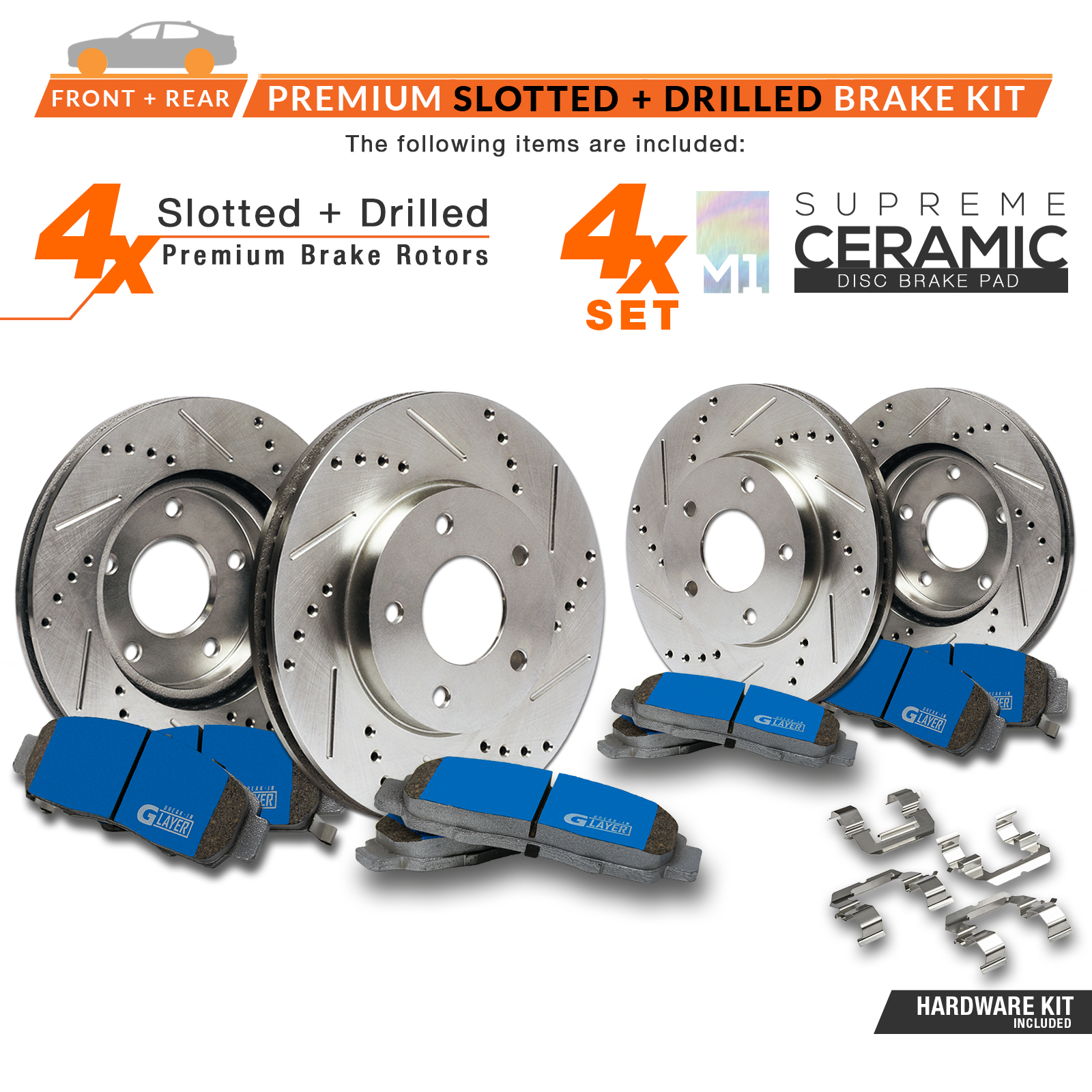 F-R-Rotors-w-M1-Ceramic-Pads-Premium-Brakes-GS300-GS400-IS300 thumbnail 2