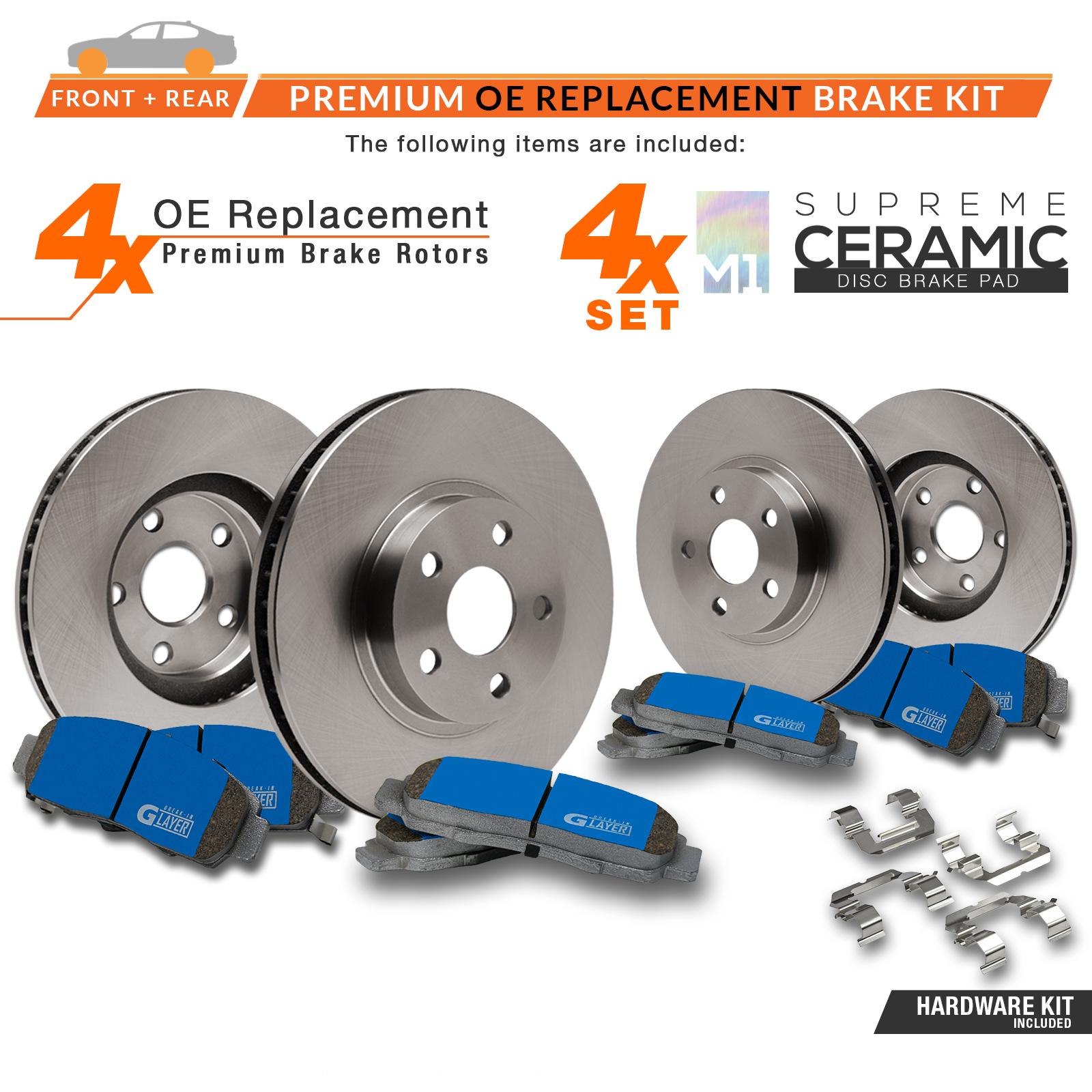 F-R-Rotors-w-M1-Ceramic-Pads-OE-Brakes-06-11-SLK350-05-07-C230 thumbnail 2