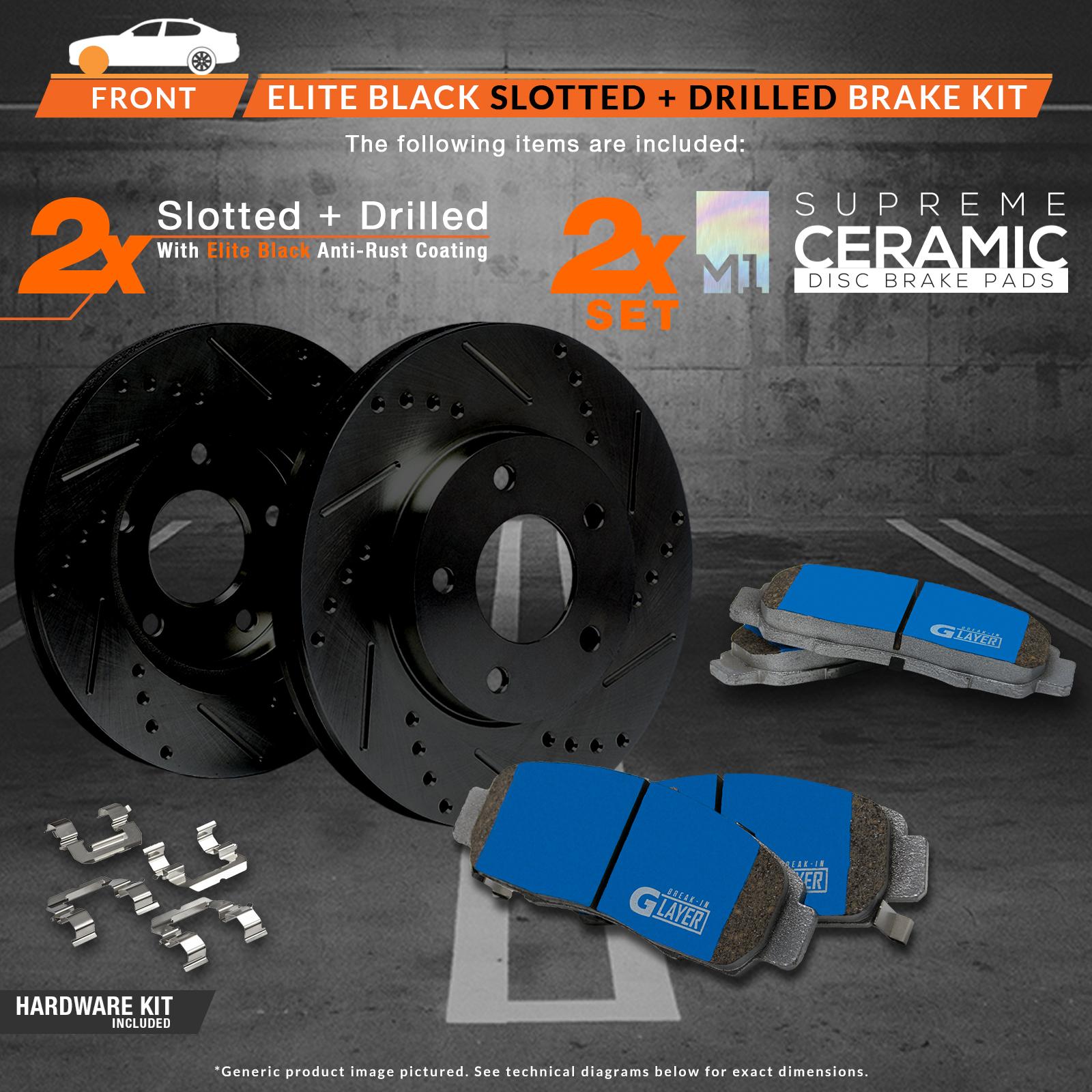 F-Rotors-w-M1-Ceramic-Pads-Elite-Brakes-2007-2008-2011-Fit-Lexus-GS350-AWD thumbnail 2