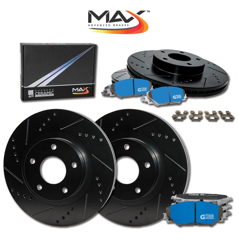 Premium Slotted Drilled Rotors + Ceramic Pads Fits: 2009 09 2010 10 2011 11 2012 12 Toyota Corolla KT044531 Max Brakes Front Performance Brake Kit