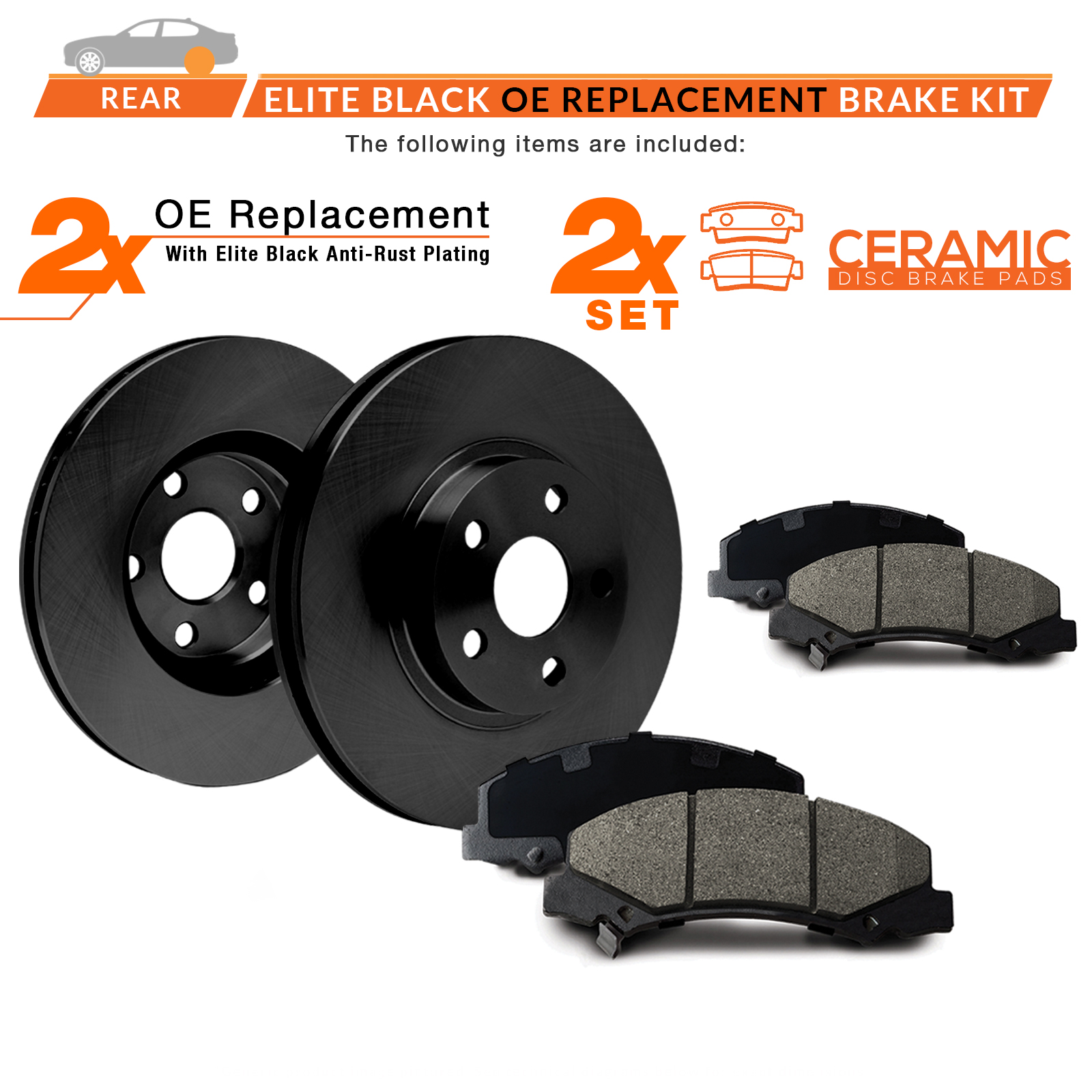 Rear-Rotors-w-Ceramic-Pads-Elite-OE-Brakes-2002-2005-Explorer-Mountaineer thumbnail 2
