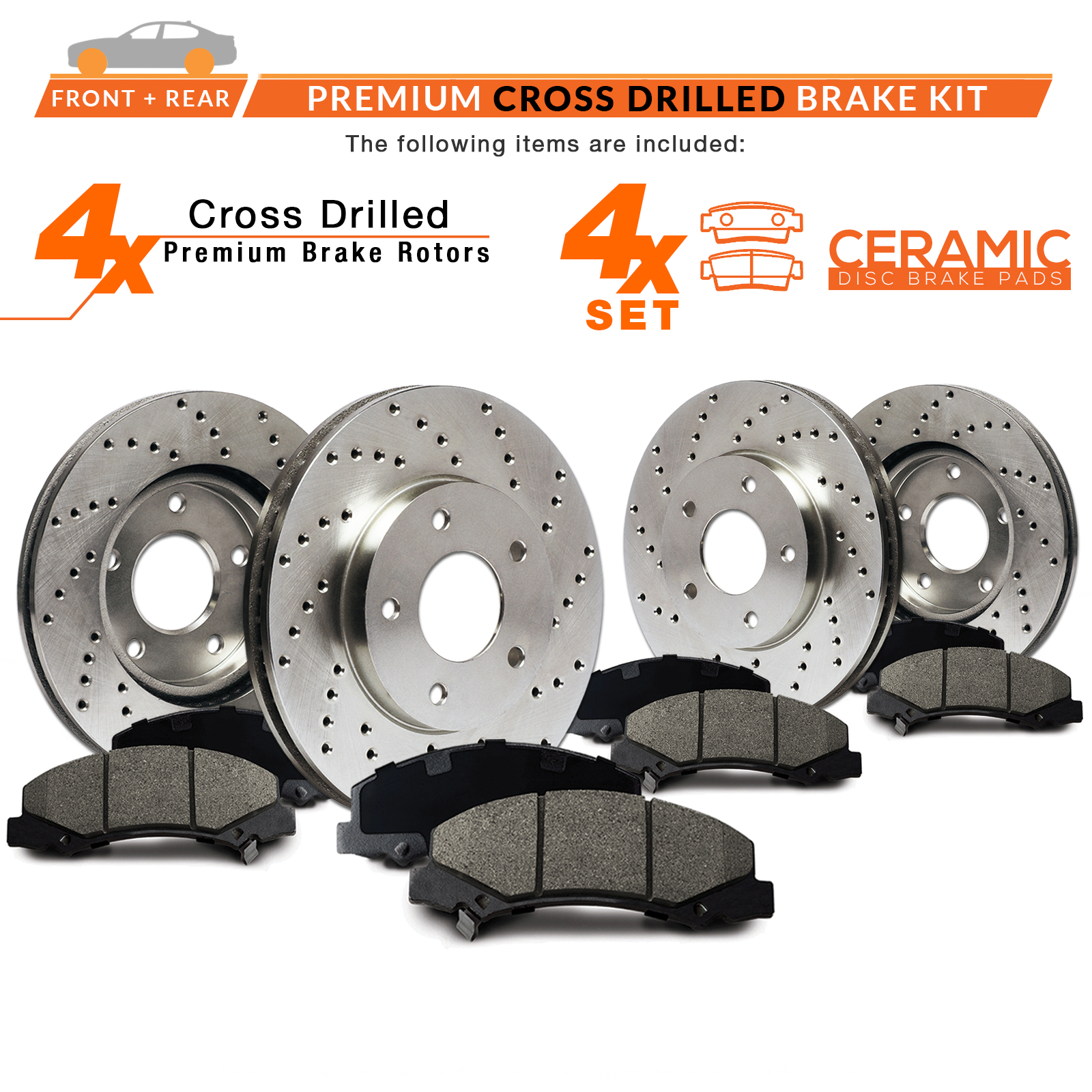 Front-Rear-Rotors-w-Ceramic-Pads-Drilled-Brakes-2003-11-Crown-Vic-Marquis