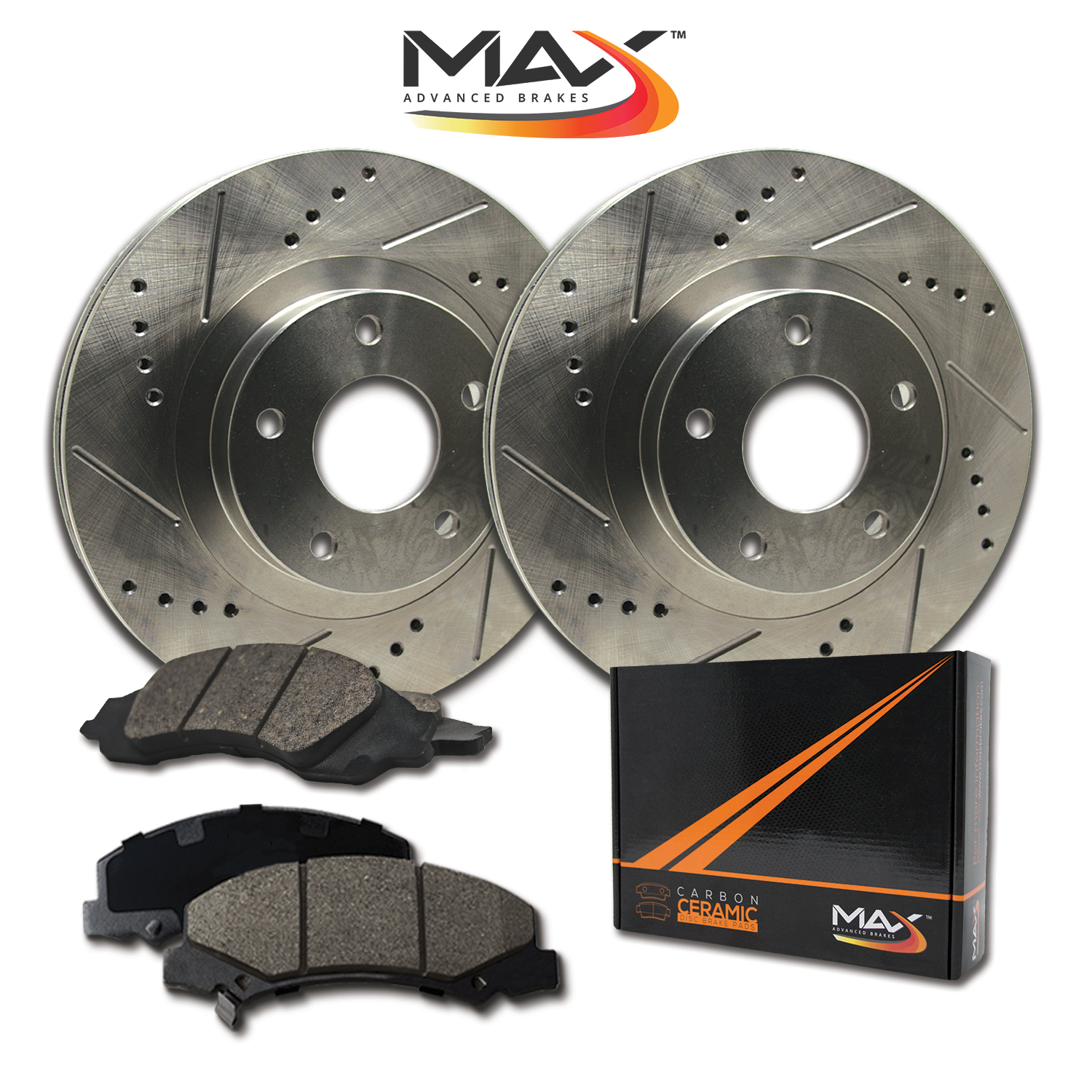 2012 2013 2014 For Ram 2500 8 Lug Coated Drilled Slotted Rear Rotors and Pads