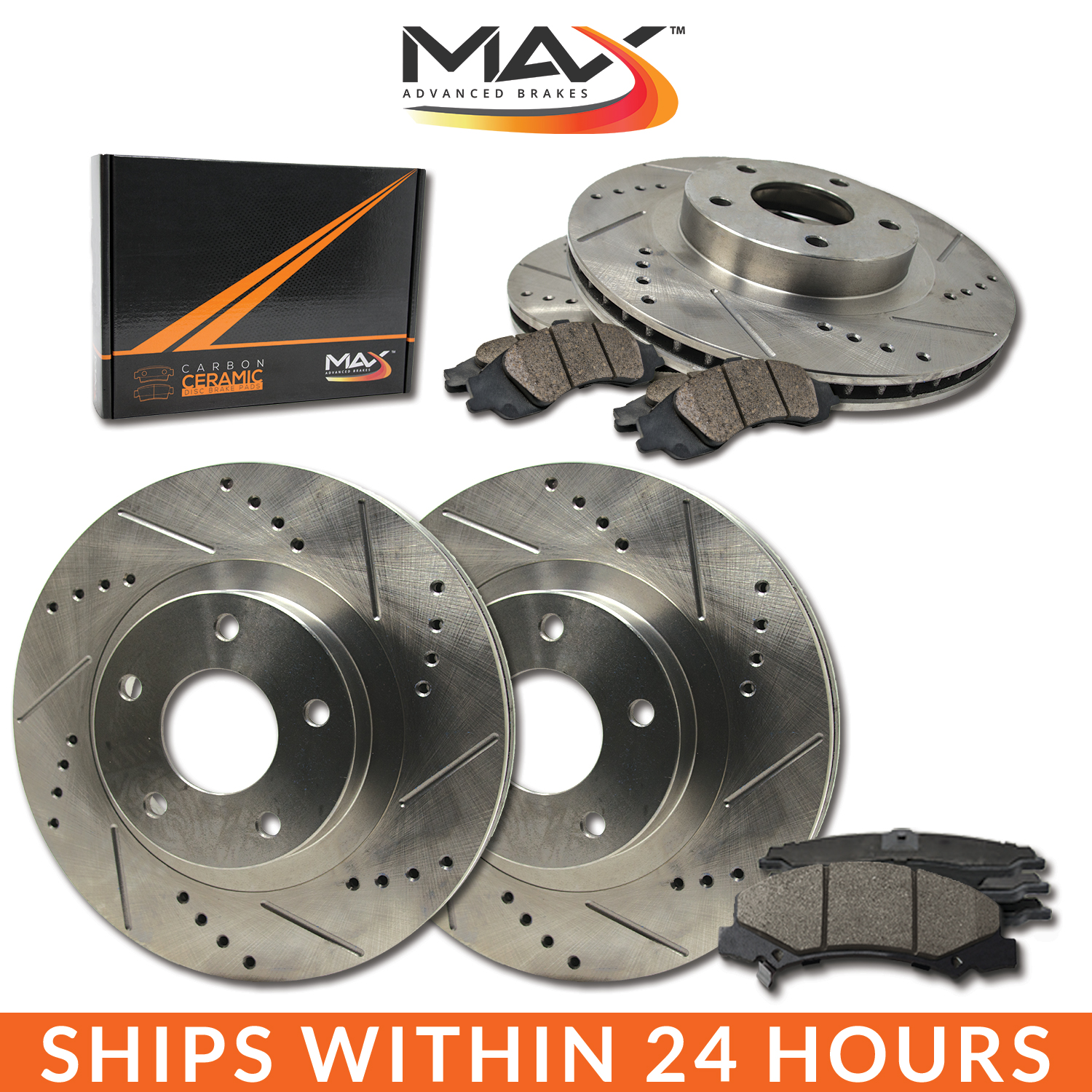 2005 BMW 325i/325Ci E46 Slotted Drilled Rotor w/Ceramic Pads F+R