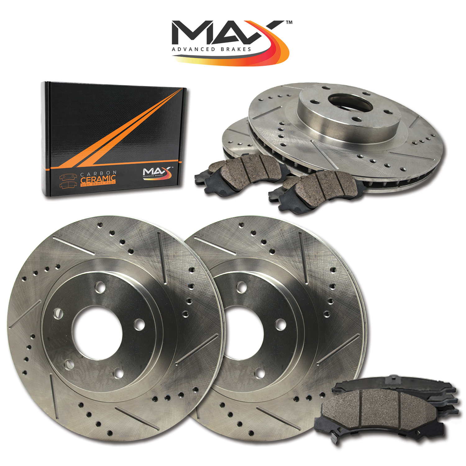 KT143743 OE Series Rotors + Ceramic Pads Max Brakes Front /& Rear Premium Brake Kit Fits: 2001 01 2002 02 Dodge Ram 2500HD